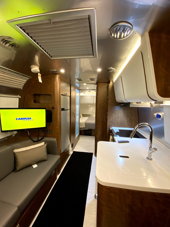 Moen® Stainless Steel Sink with Dupont Corian® Sink Cover. Airstream Globetrotter 2020