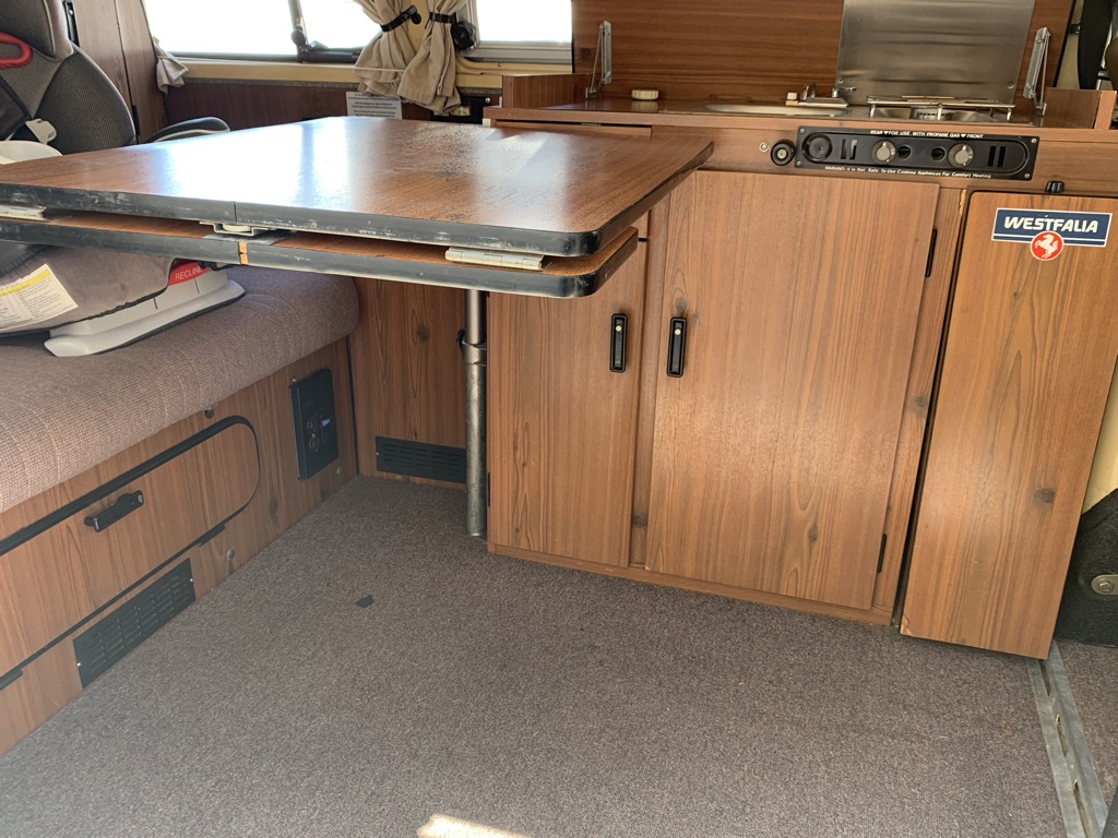 Kitchen table. Volkswagen T2 Westfalia 1978