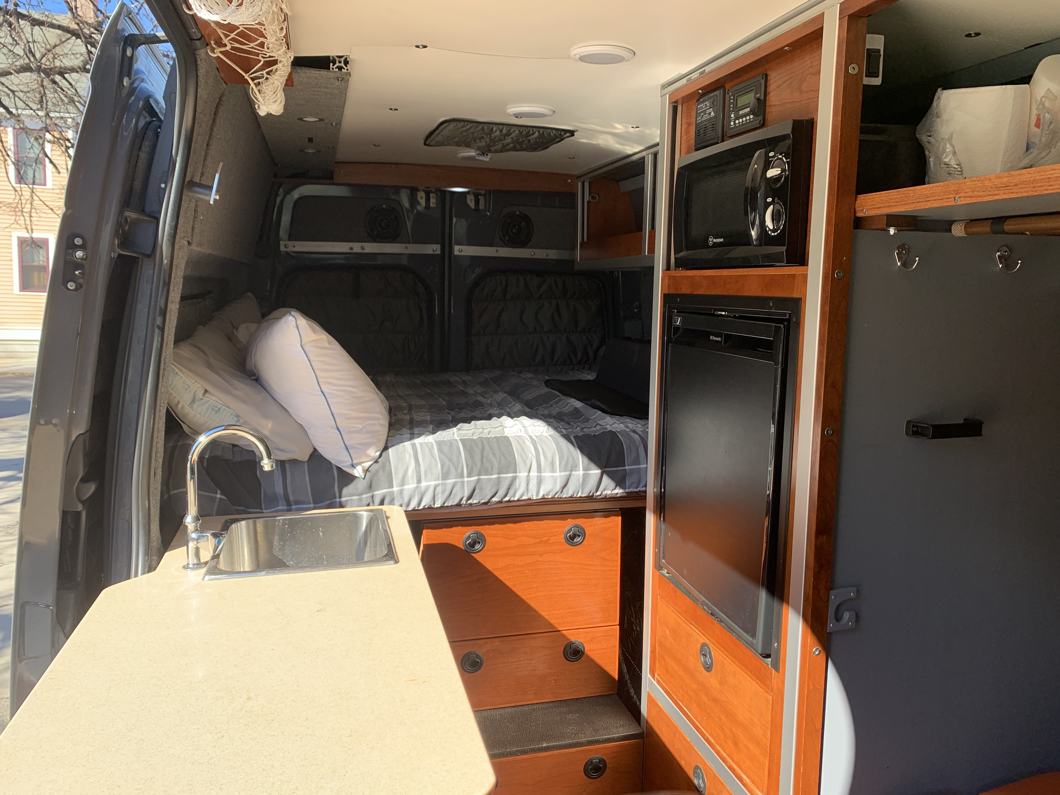 Interior w/ magnetic privacy shades installed. Mercedes-Benz Sprinter 2008