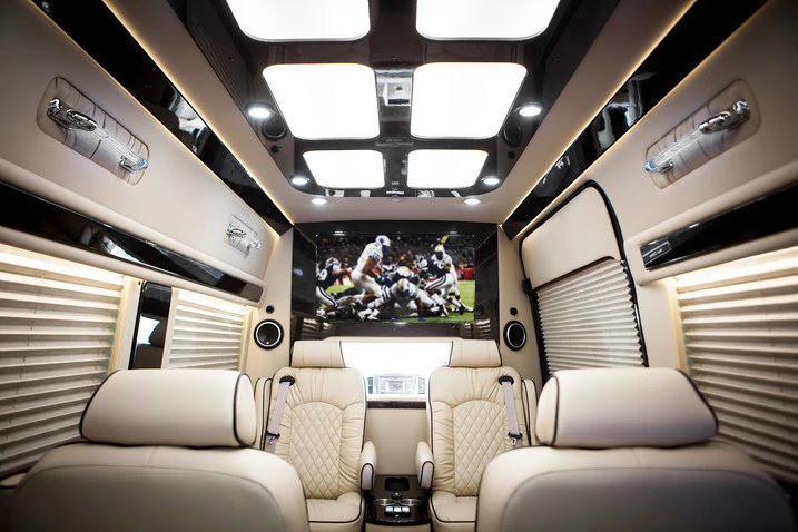 Luxurious interior cabin with Maybach ceiling panel. Sound Deadening, complete insulation. Window ledges. Mercedes Sprinter: Midwest Automotive Design Sprinter 2020