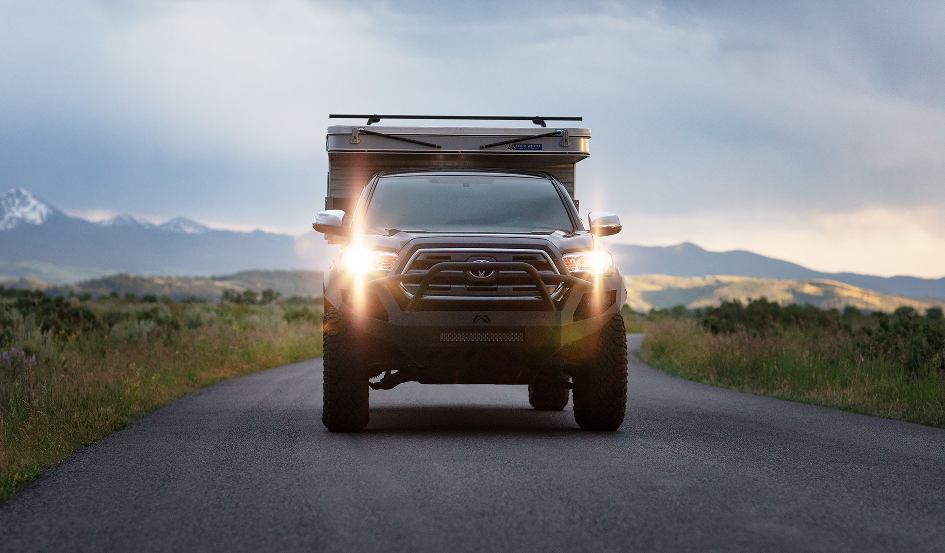 With the camper only weighing 900lb the truck drives smoothly on and off-road. Four Wheel Campers Fleet 2016