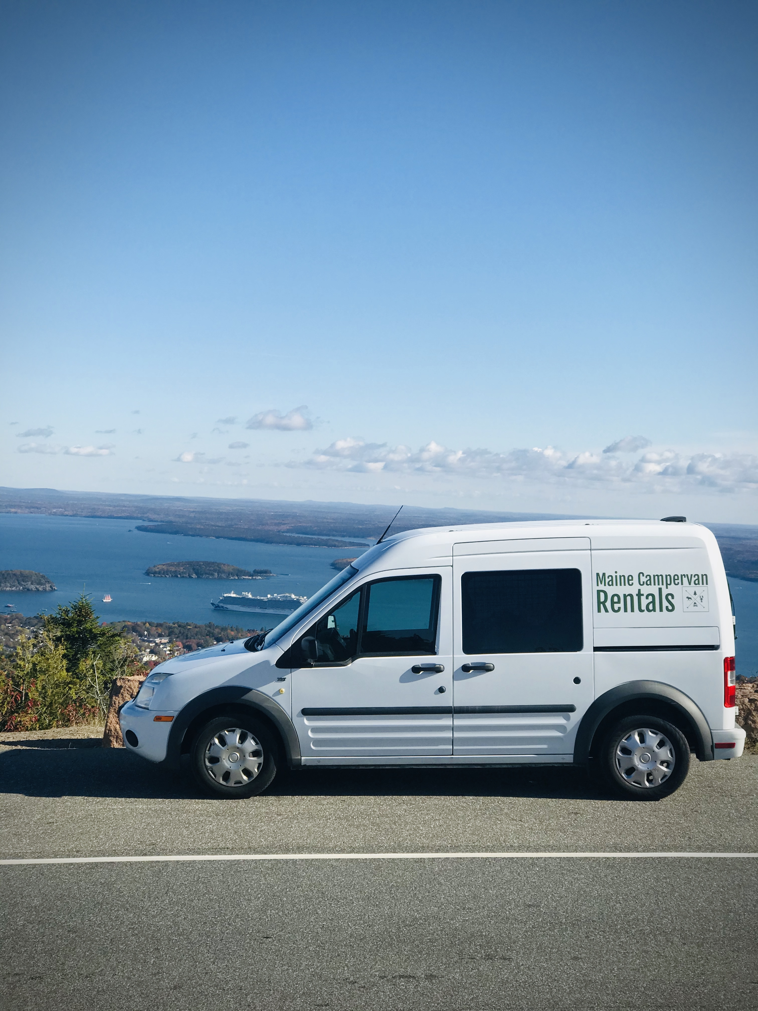 On top of Cadillac Mountain. RVs are not allowed up here, but our van is!. Ford Custom Transit 2011