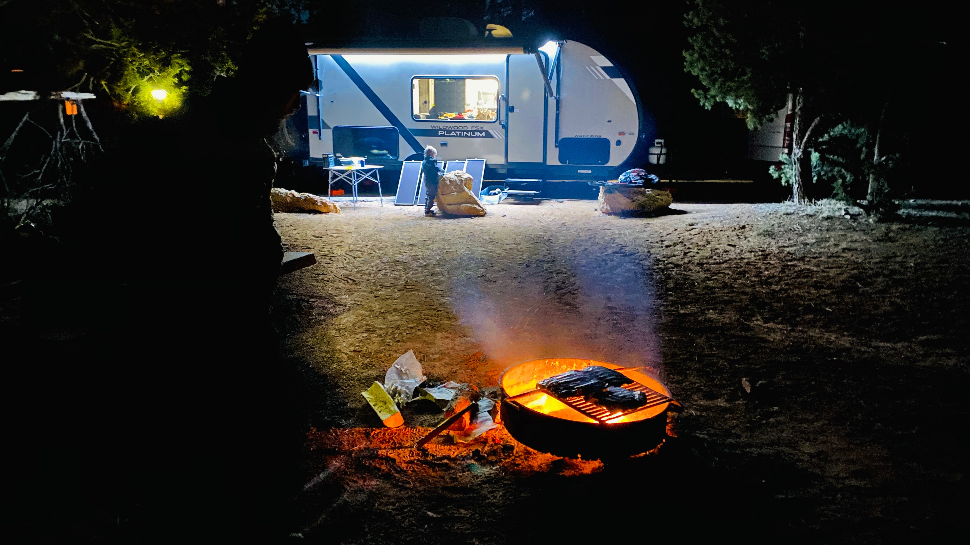Great setup for after dark.. Forest River Wildwood Platinum 2020
