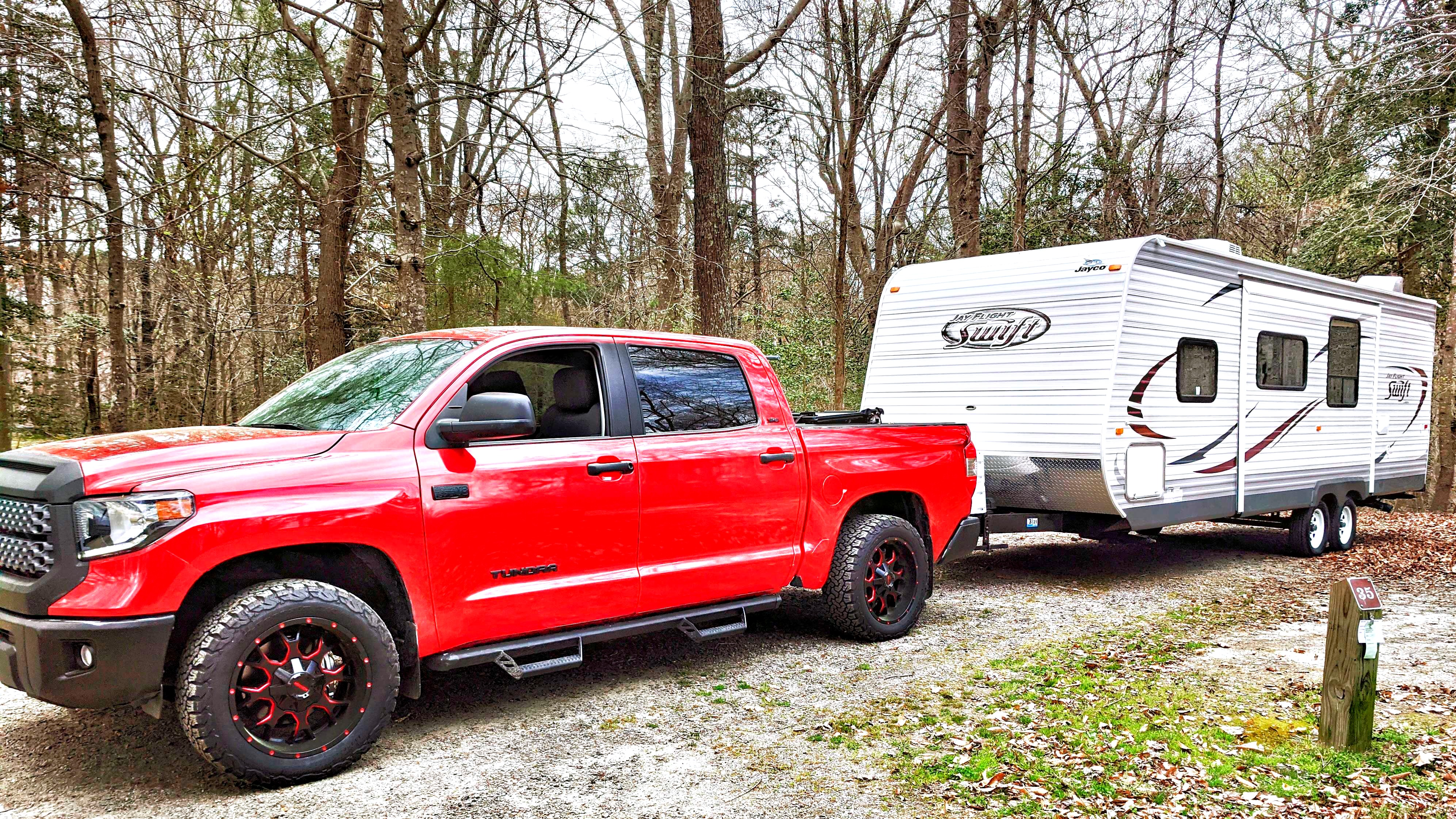Towels easily behind the Tundra.  . Jayco Camper Trailer- Swift 2014