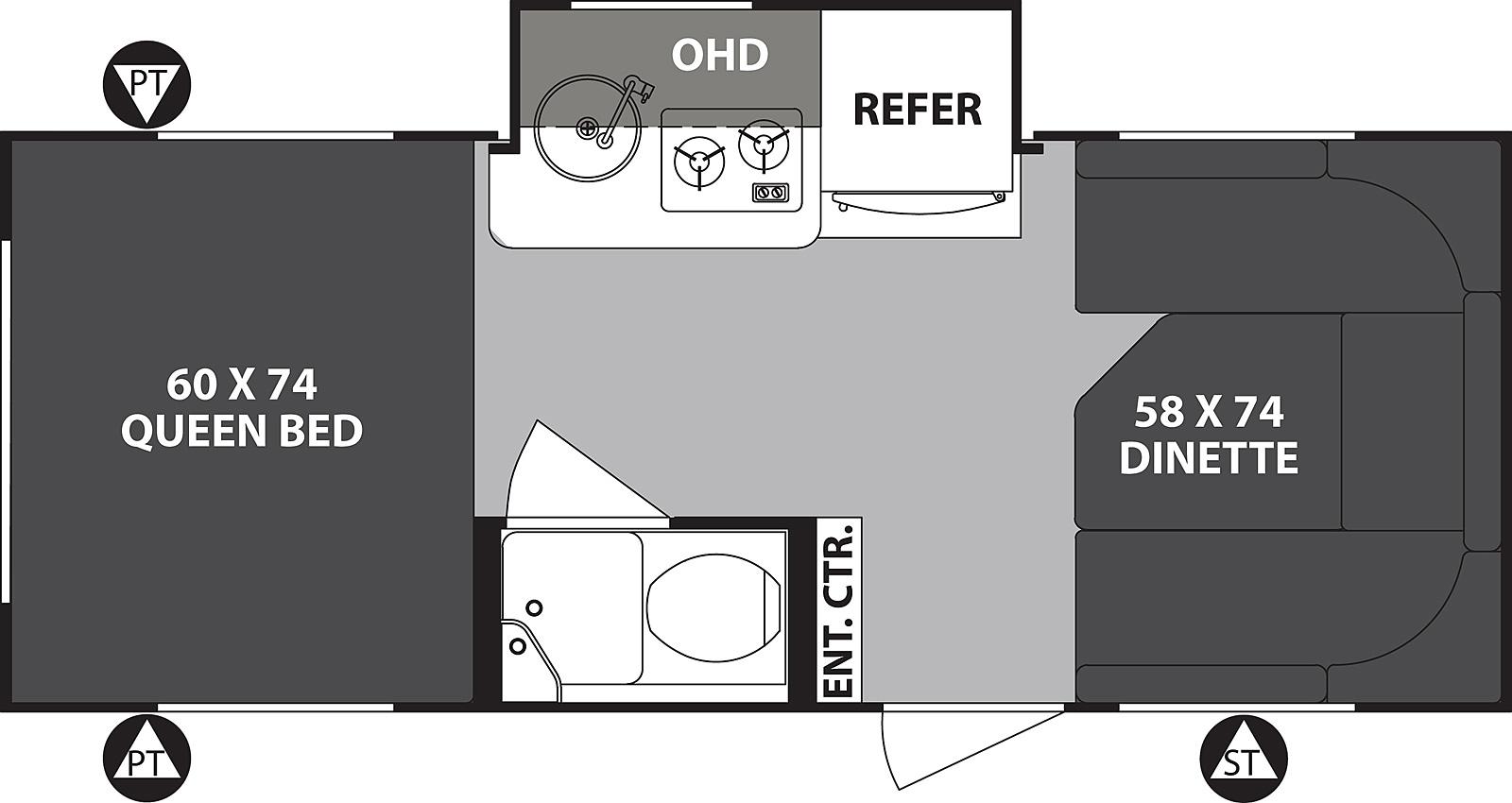 Inside Layout of R-pod (with Kitchen Slide). Forest River R-Pod 2017