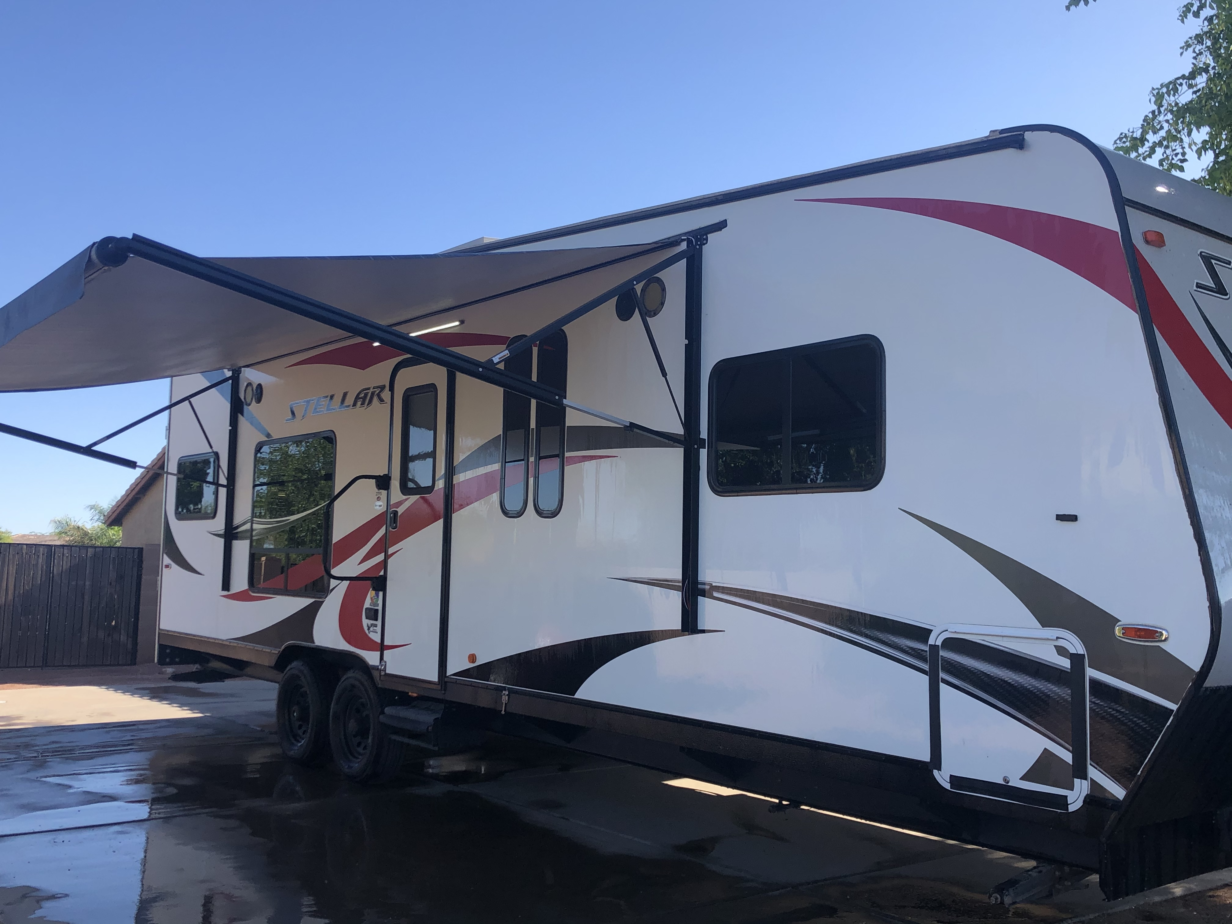 Outside awning w lights and speakers. Eclipse Recreational Vehicles Stellar 2017