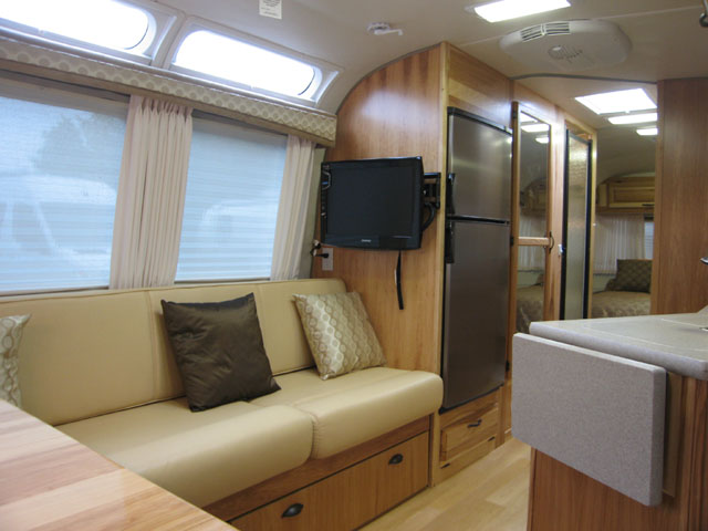 Rear couch w/ TV. Airstream Classic Limited 2009