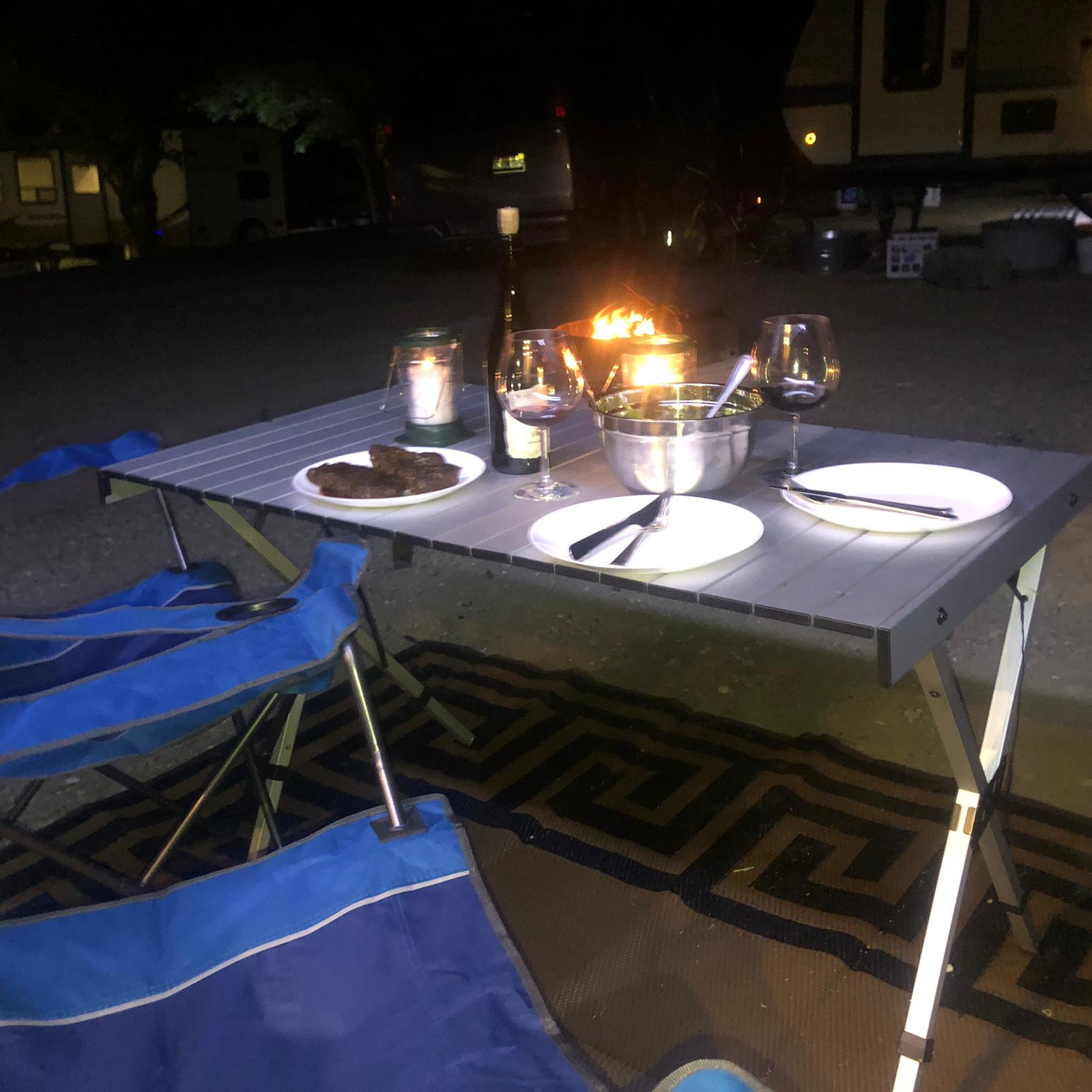 Dinner by the campfire, Lake Berryessa. Thor Motor Coach Four Winds 2019