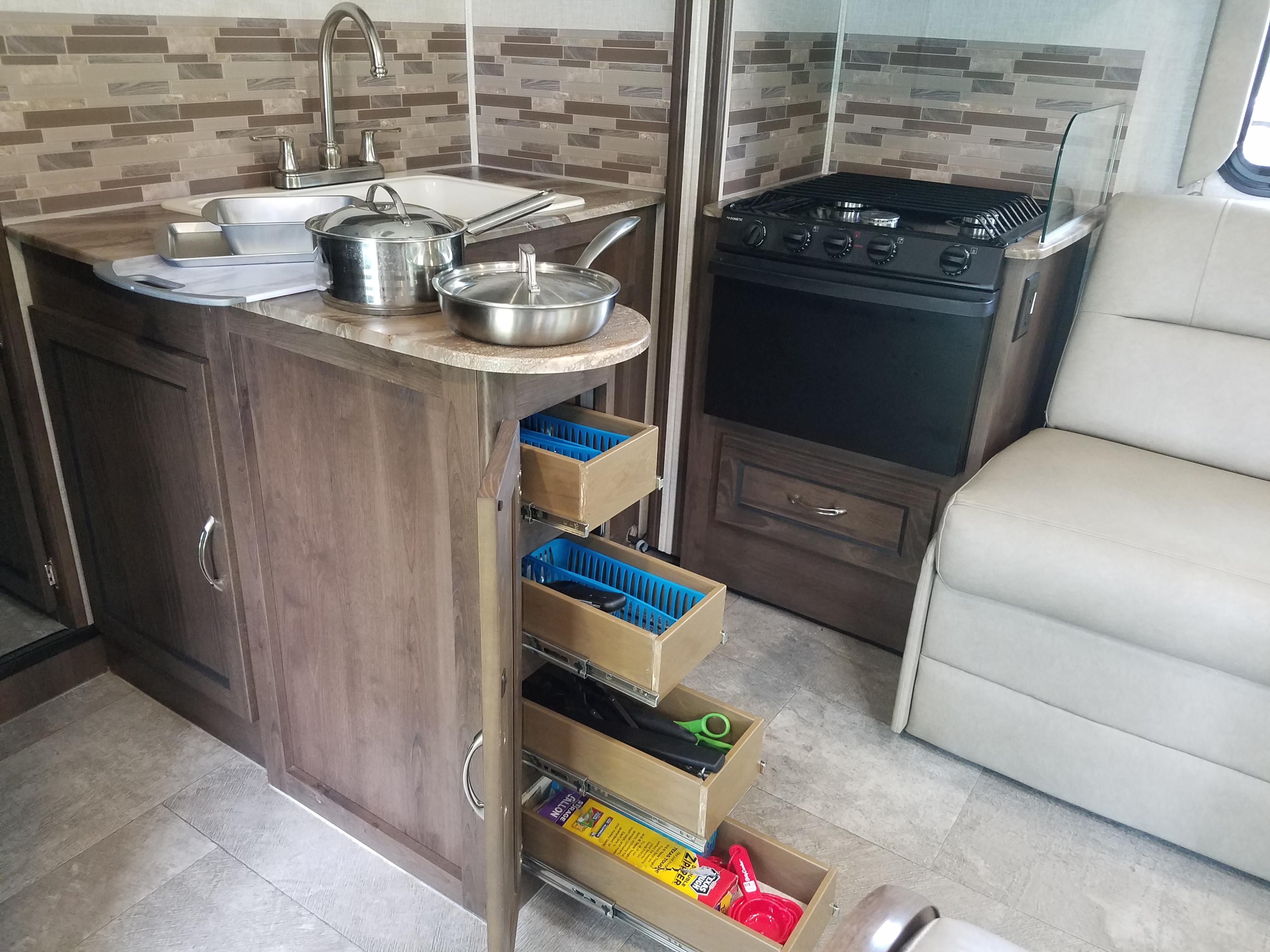 Fully Equipped Kitchen. Coachmen Freelander 2020
