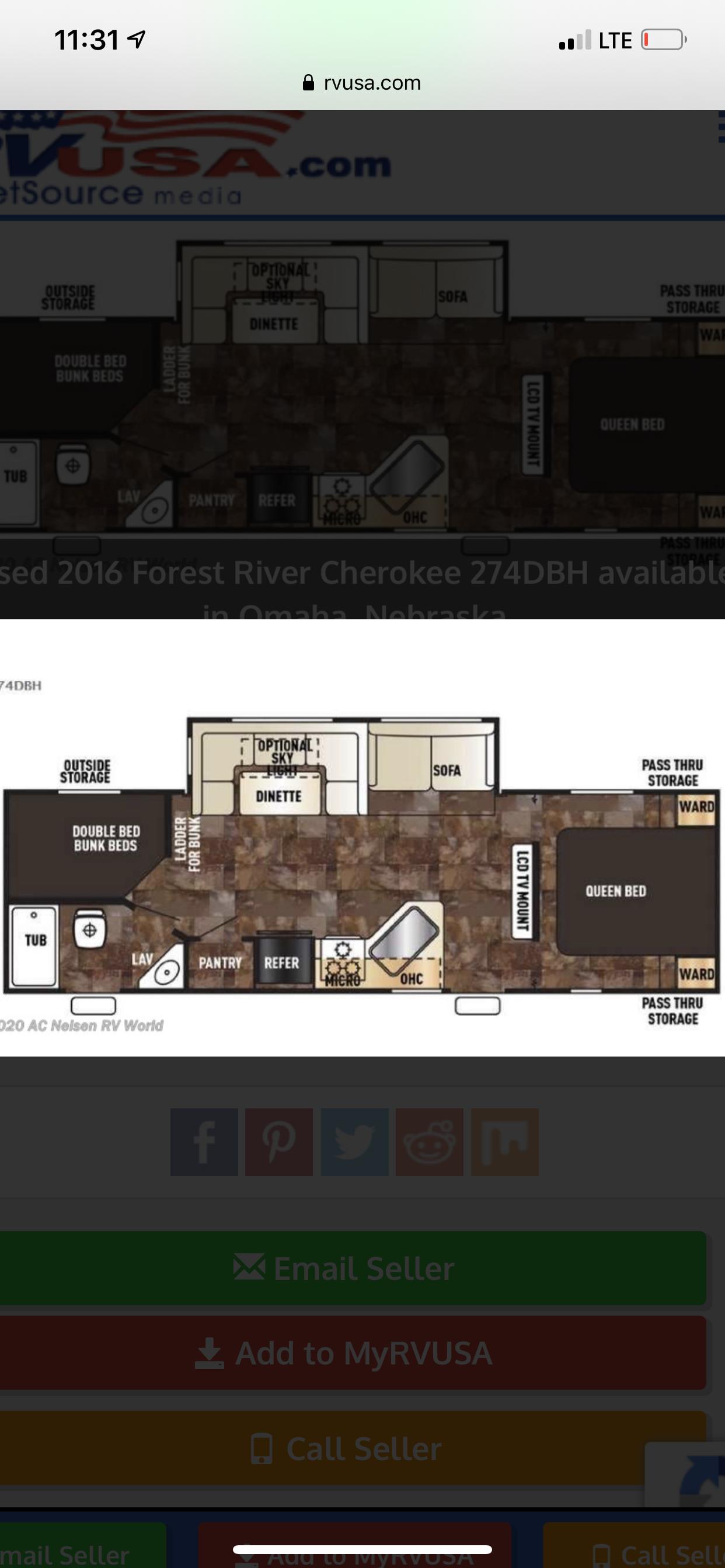 Floor plan. Forest River Cherokee 2016