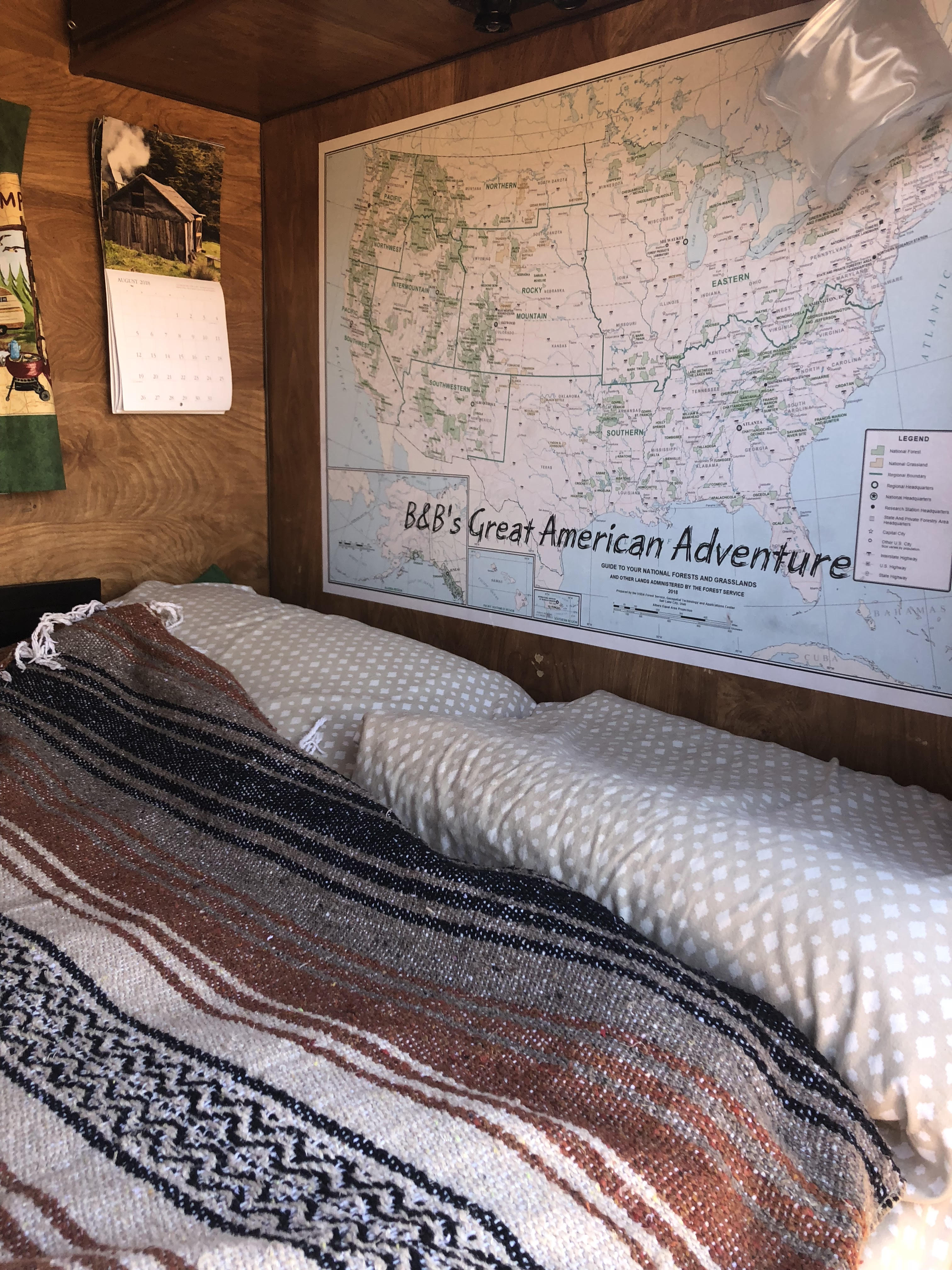Full size bed and a map of our travels moving from Oregon back to Minnesota. Vintage Trailers Other 1985