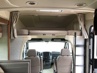 "Large Cab over sleeping area with Privacy curtain 45""w by 75"" Long. Winnebago View 2018"