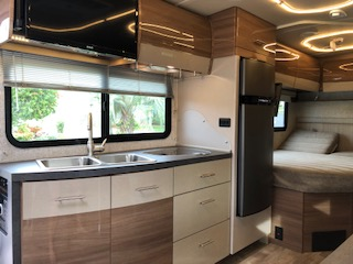 Gourmet Double Sink Kitchen with TV above. Winnebago View 2018