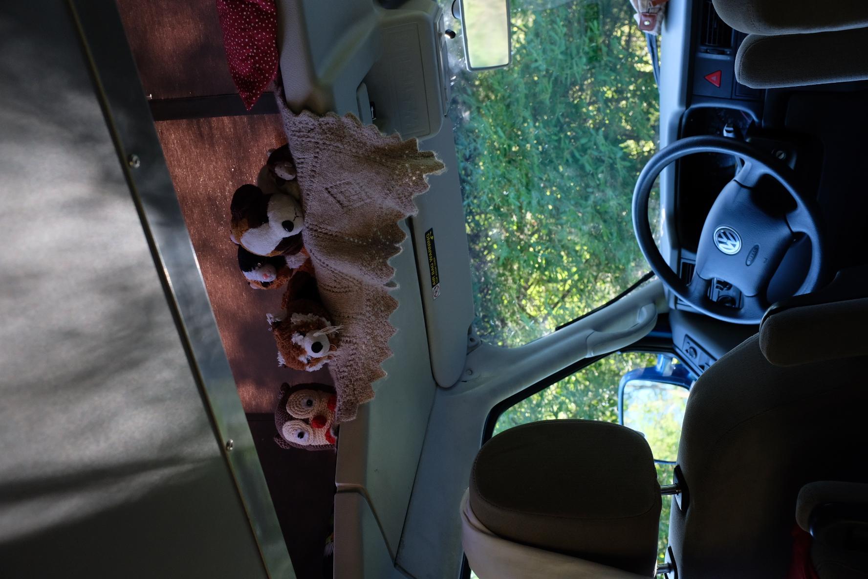 The kids give their plush toys premium spots in the pop top!. Volkswagen Eurovan Westfalia 2002