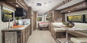 Nice kitchen, bathroom and bedroom at back.. Jayco Melbourne 2020