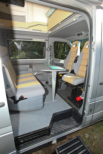 Lower area set up for dining or cards. Airstream Westfalia 2005