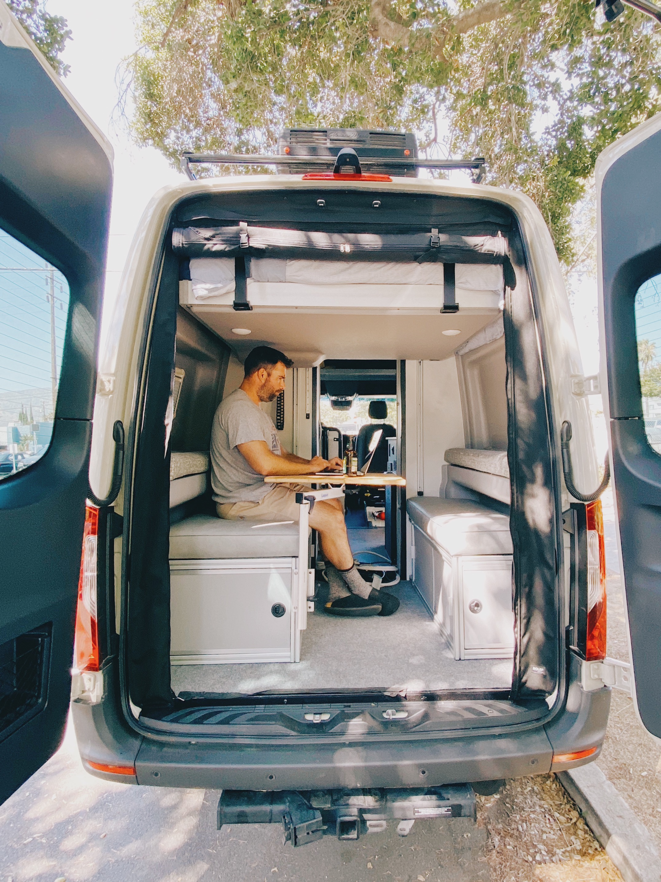 Optional Booth Seats & Bamboo Dining  Table/Work Table with storage underneath seats upon request. Canyon Adventure Van GLSS System!. Mercedes SPRINTER 2020