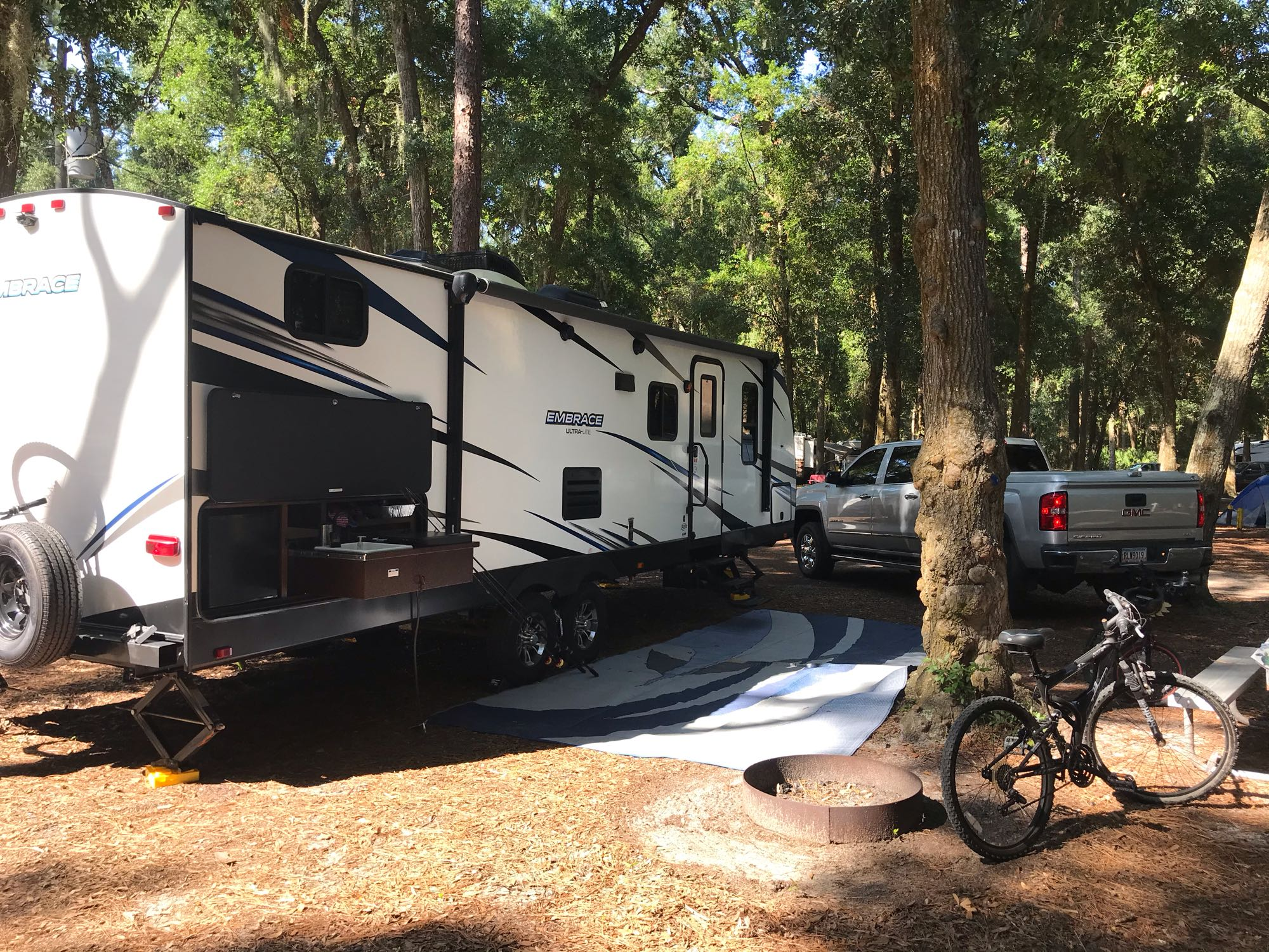Jekyll Island campground is nestled in beautiful trees and large sites. . CruiserRvCorp Embrace EL280 2018