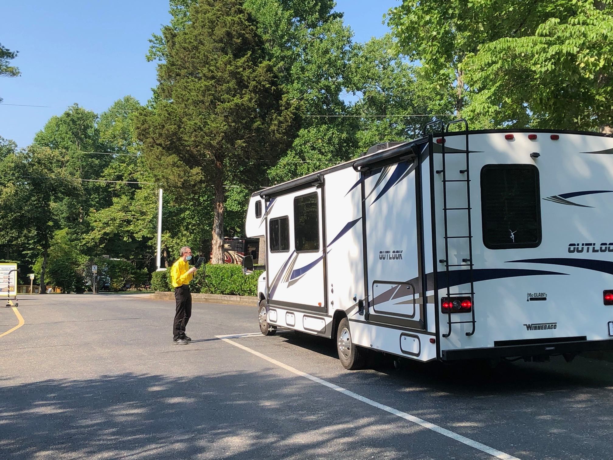Checking into a campground for the night!. Winnebago Outlook 2020