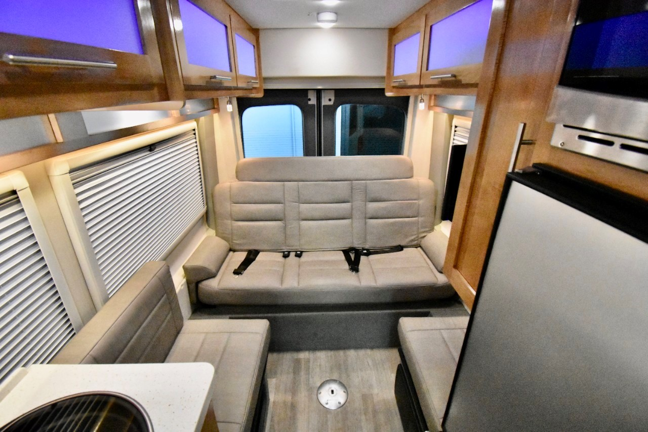 Rear bench seat with automatic lay flat bed. Forest River Beyond 2020