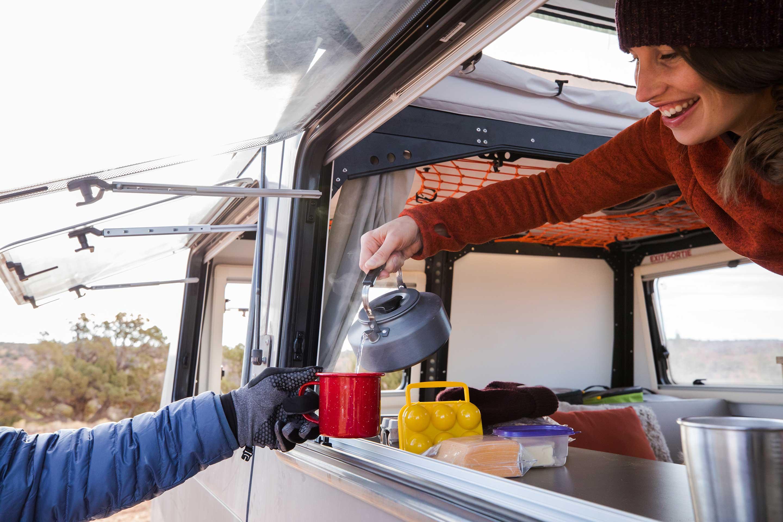 Pass through windows similar to a food truck to make meals easier!. TAXA Outdoors Mantis Camper 2020