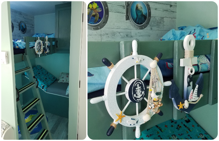 The pirate-themed kids room with bunkbed. Starcraft Autumn Ridge 278BH 2011