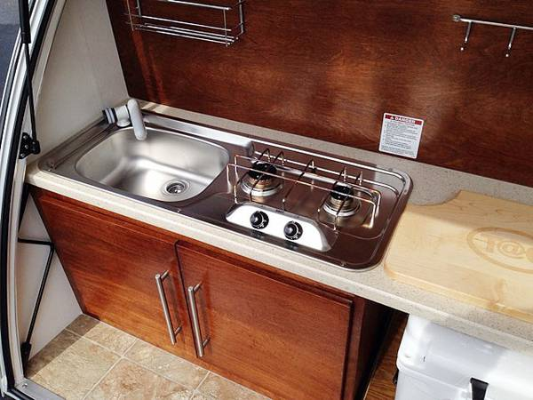 Sink, stove, and cutting board.. T@B Little Guy 2016