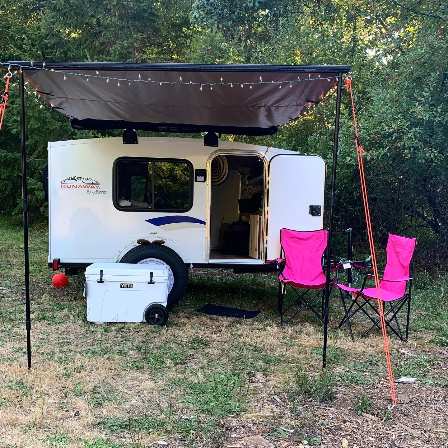 "Jolene! The perfect ""square drop"" for any occasion. Fully equipped with solar powered motion sensor lights and Sunseeker roll out awning!. Runaway Campers Rangerunner 2020"