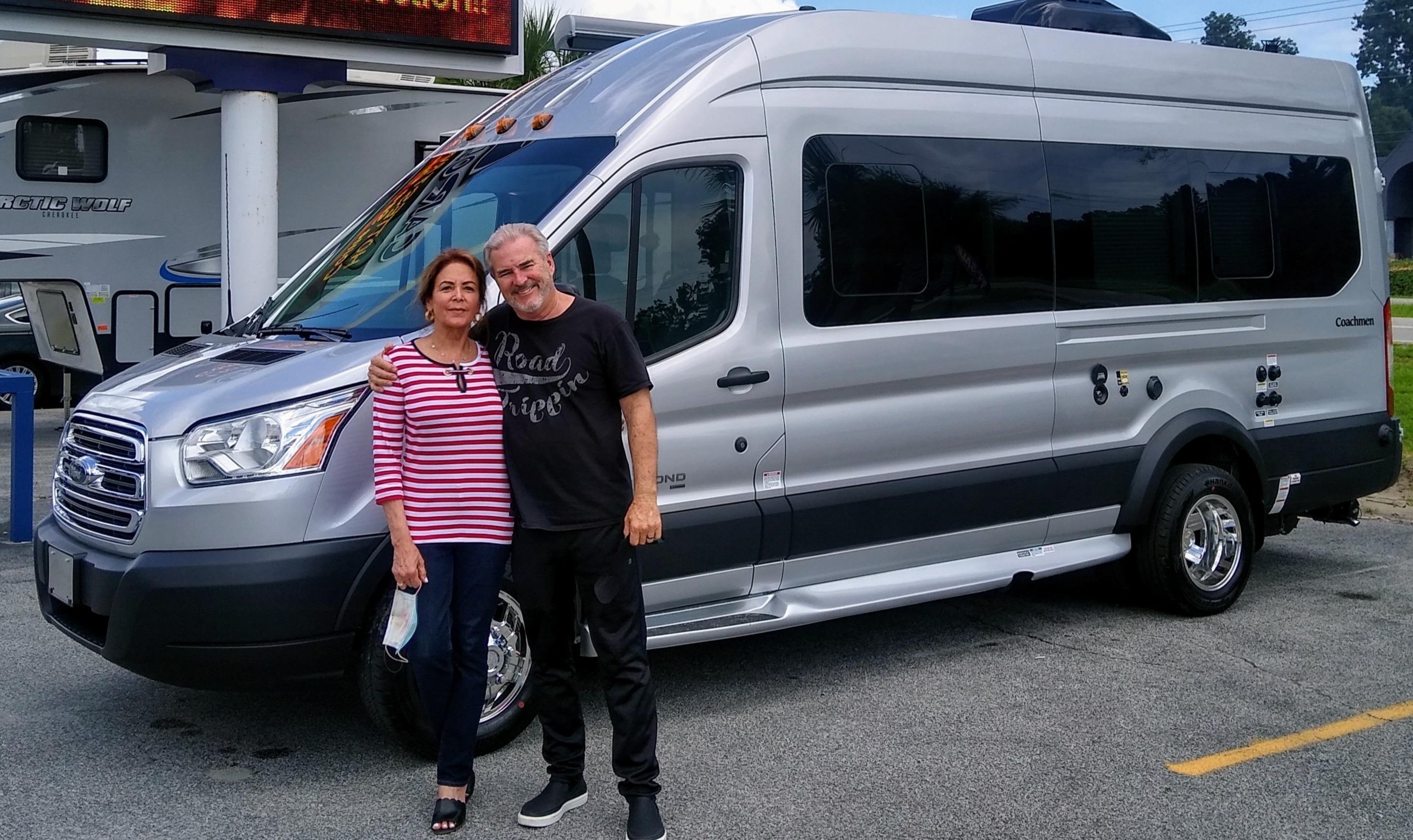 Happy owners of new 2020 Beyond 22 foot Transit camper van.. Coachmen Beyond 2020
