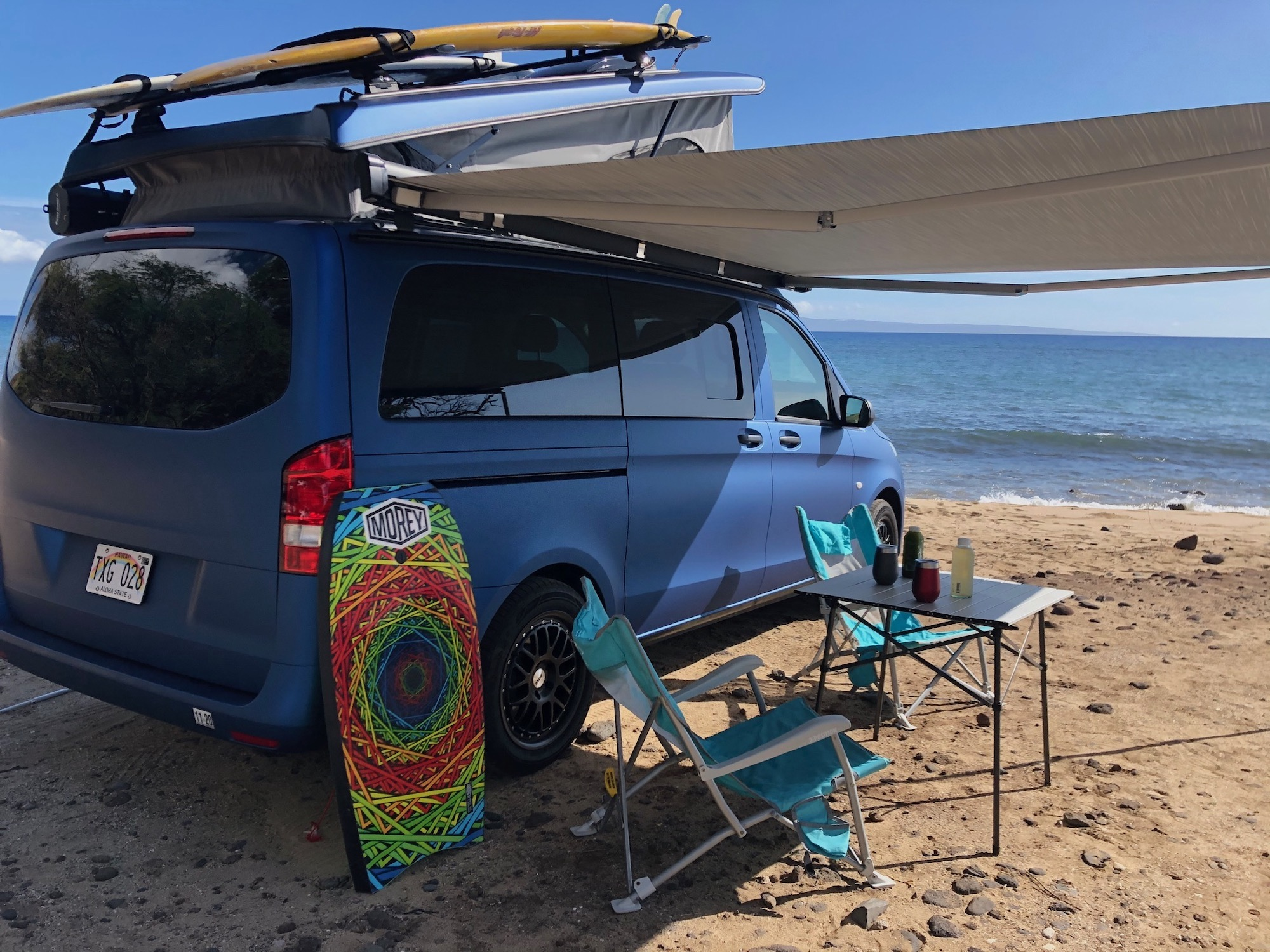 Awning Out with Camping Gear. Mercedes Metris Pop-Top 2019