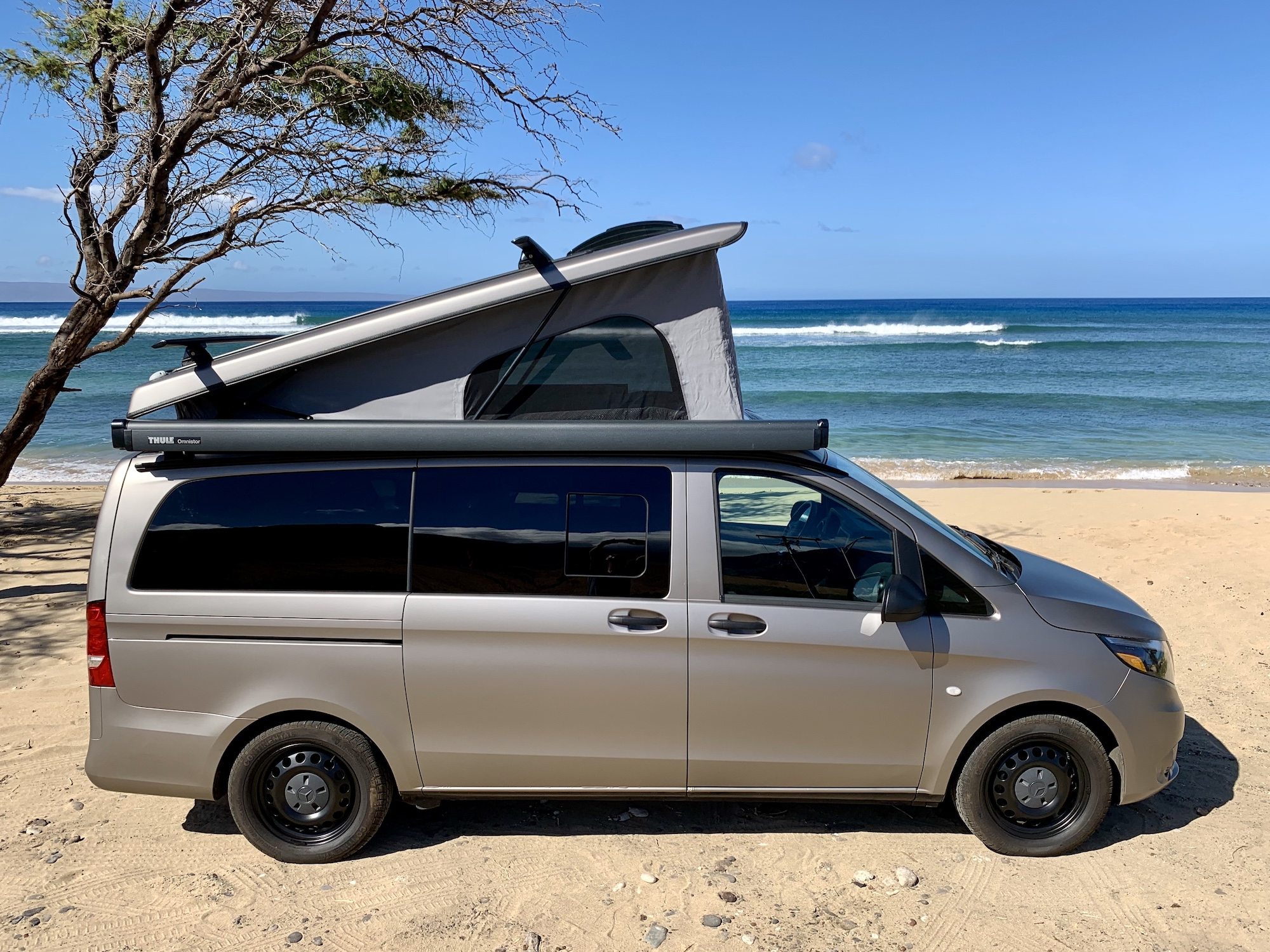 Side View with Top Popped. Mercedes Metris Pop-Top 2019
