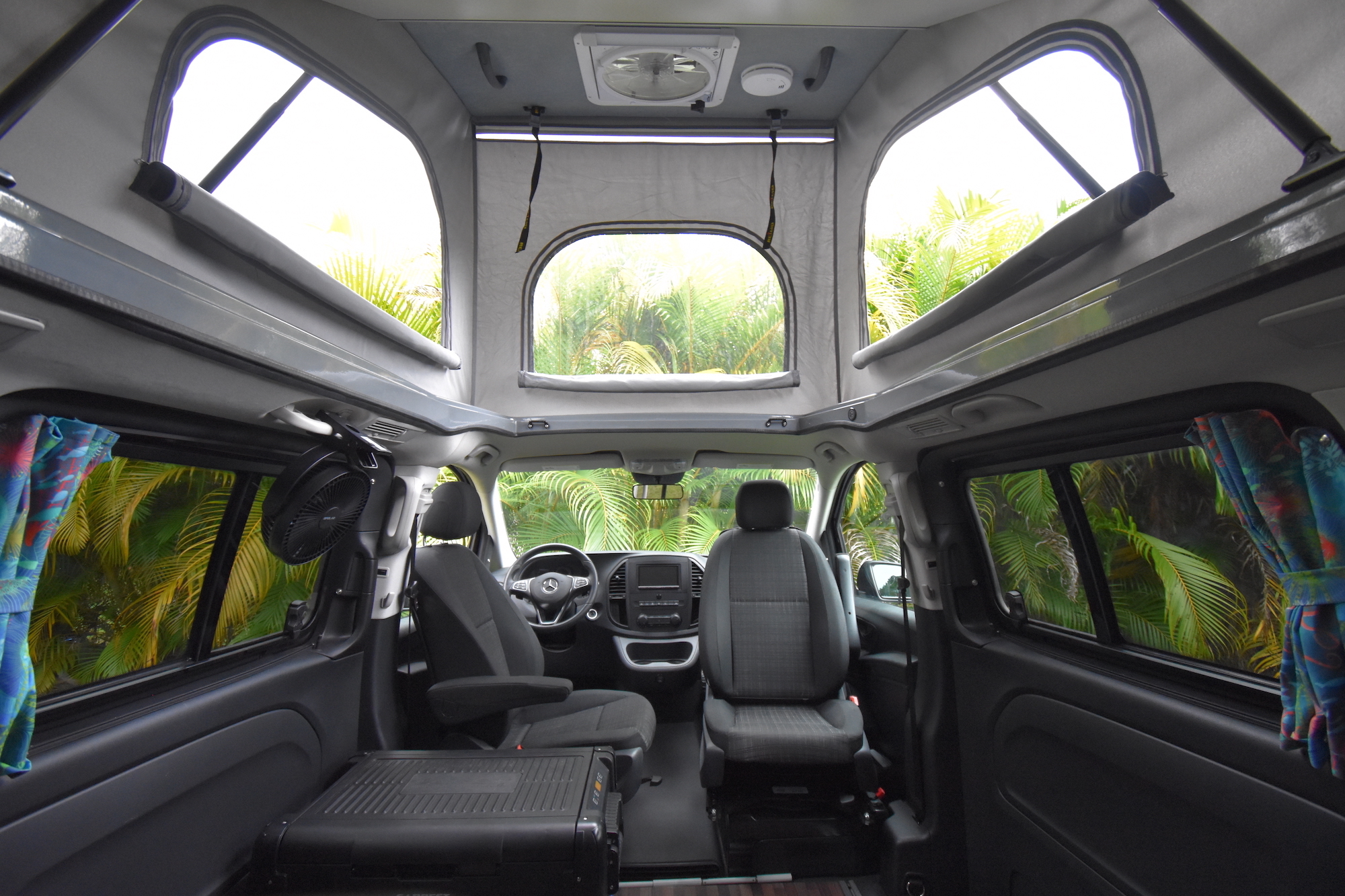 Back Seat View with Top and Bed Raised. Mercedes Metris Pop-Top 2019
