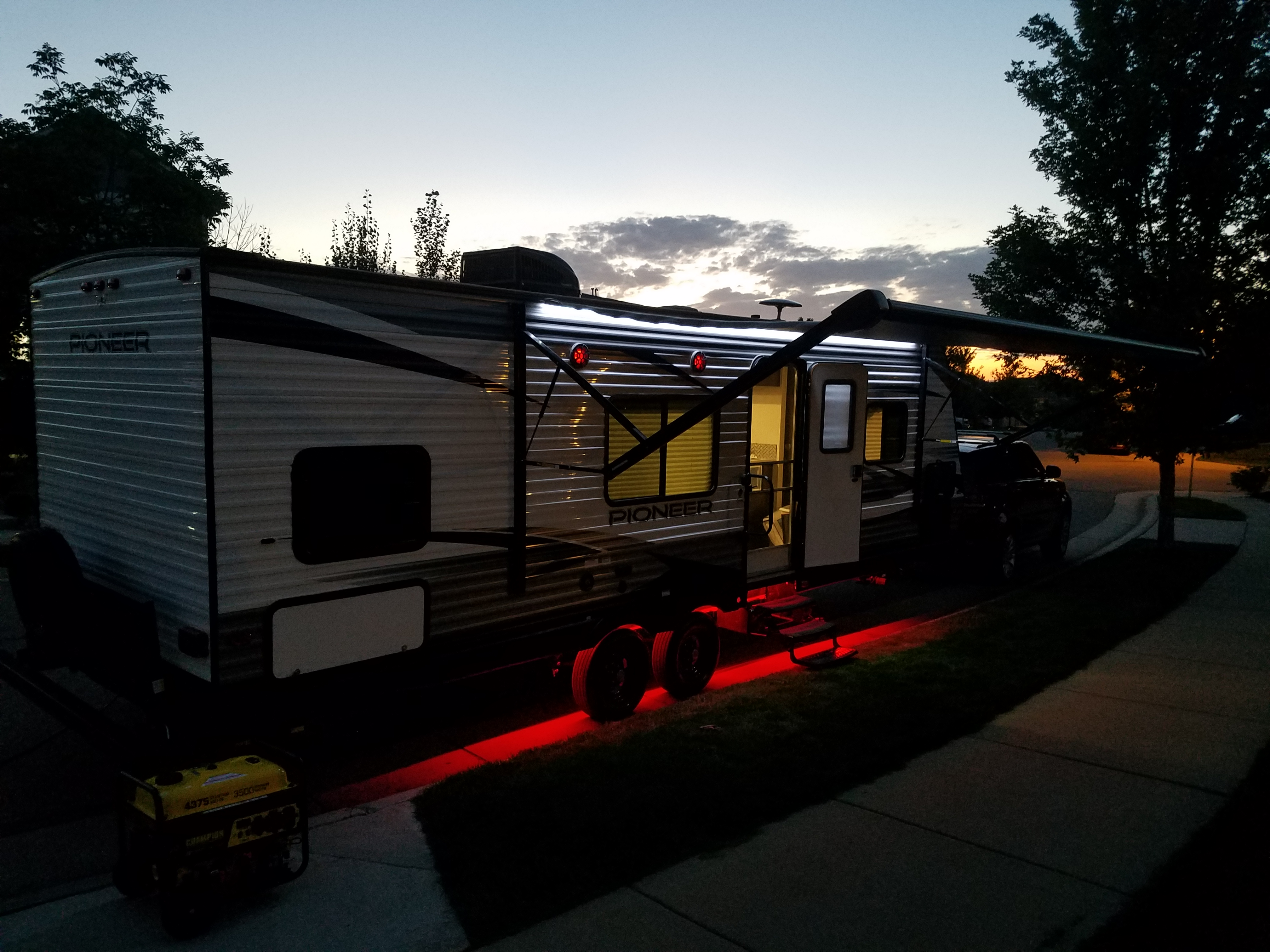 Exterior at night. Heartland Pioneer 2019