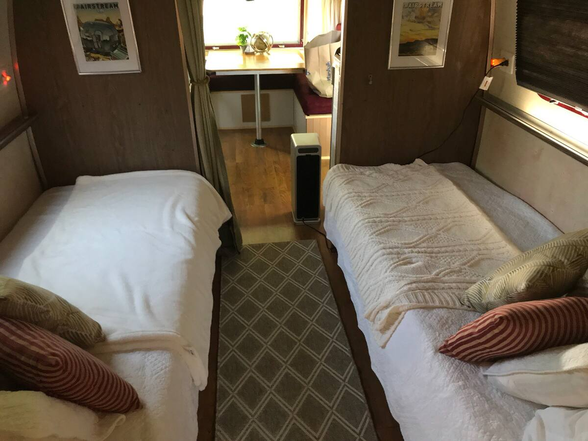 Twin rear beds looking towards the front. Airstream Safari 1972