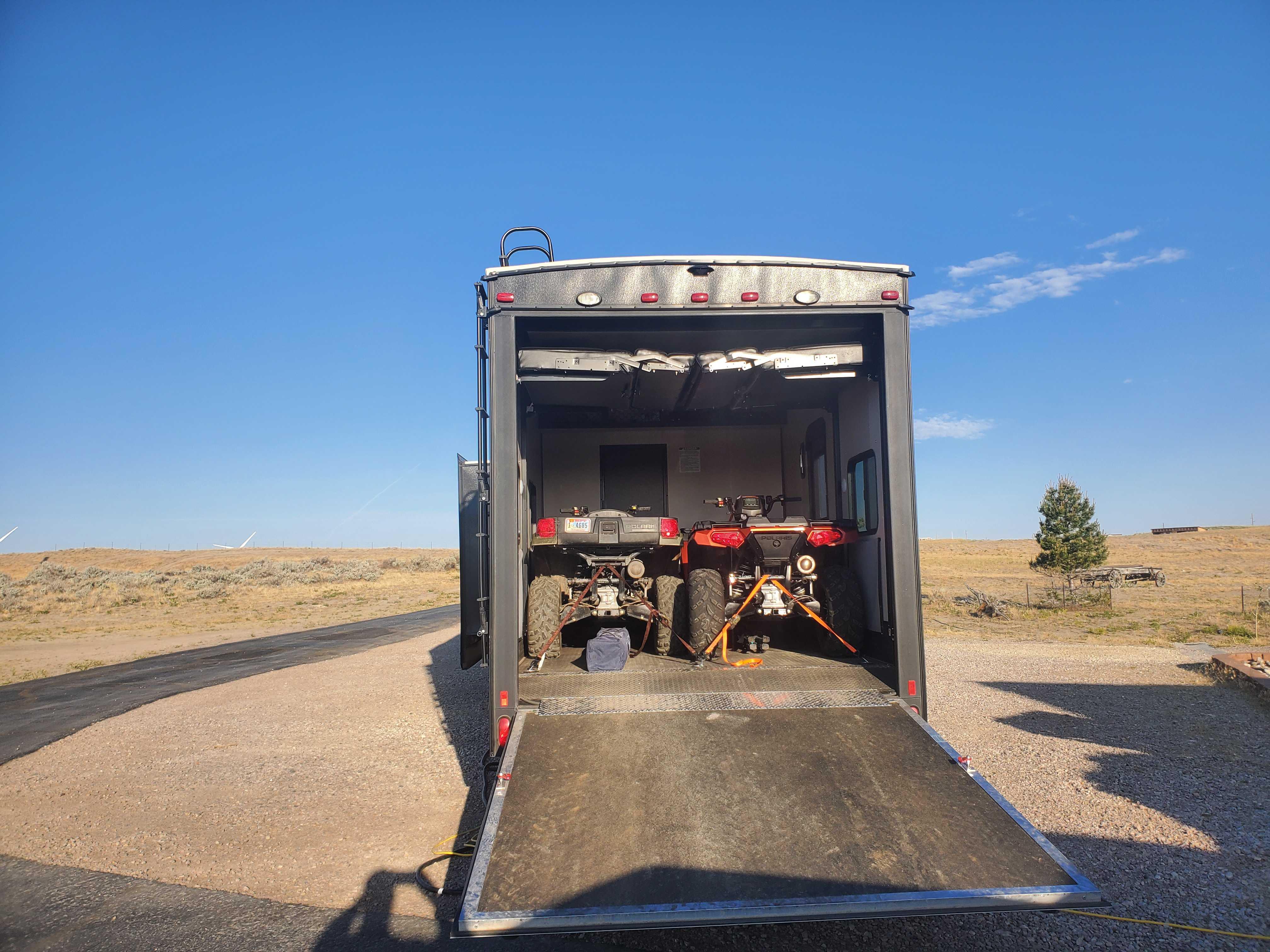 13 Foot Garage can hold (2) ATVs or (1)Polaris Ranger or (1) SidexSide. K-Z Sportster 2019