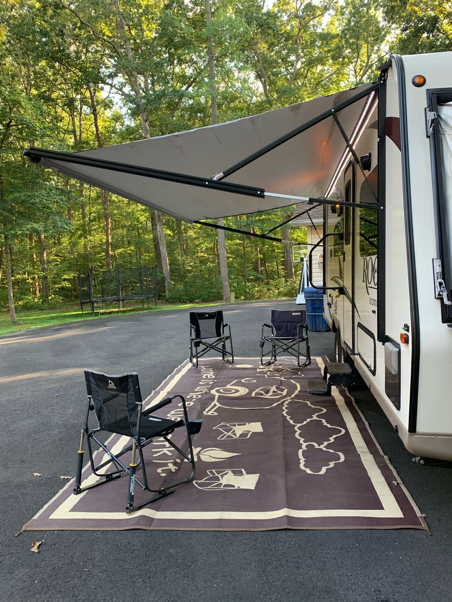 Exterior patio light and light strip across the front. Forest River Rockwood Roo 233S 2018