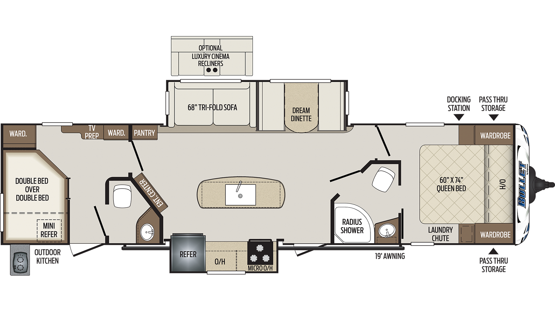 Sleeper Sofa and Dinette are switched in Camper.. Keystone Bullet 2018