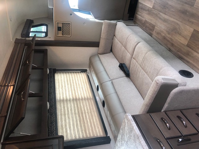 Couch converts to cozy bed. Ford Triton E450 2021