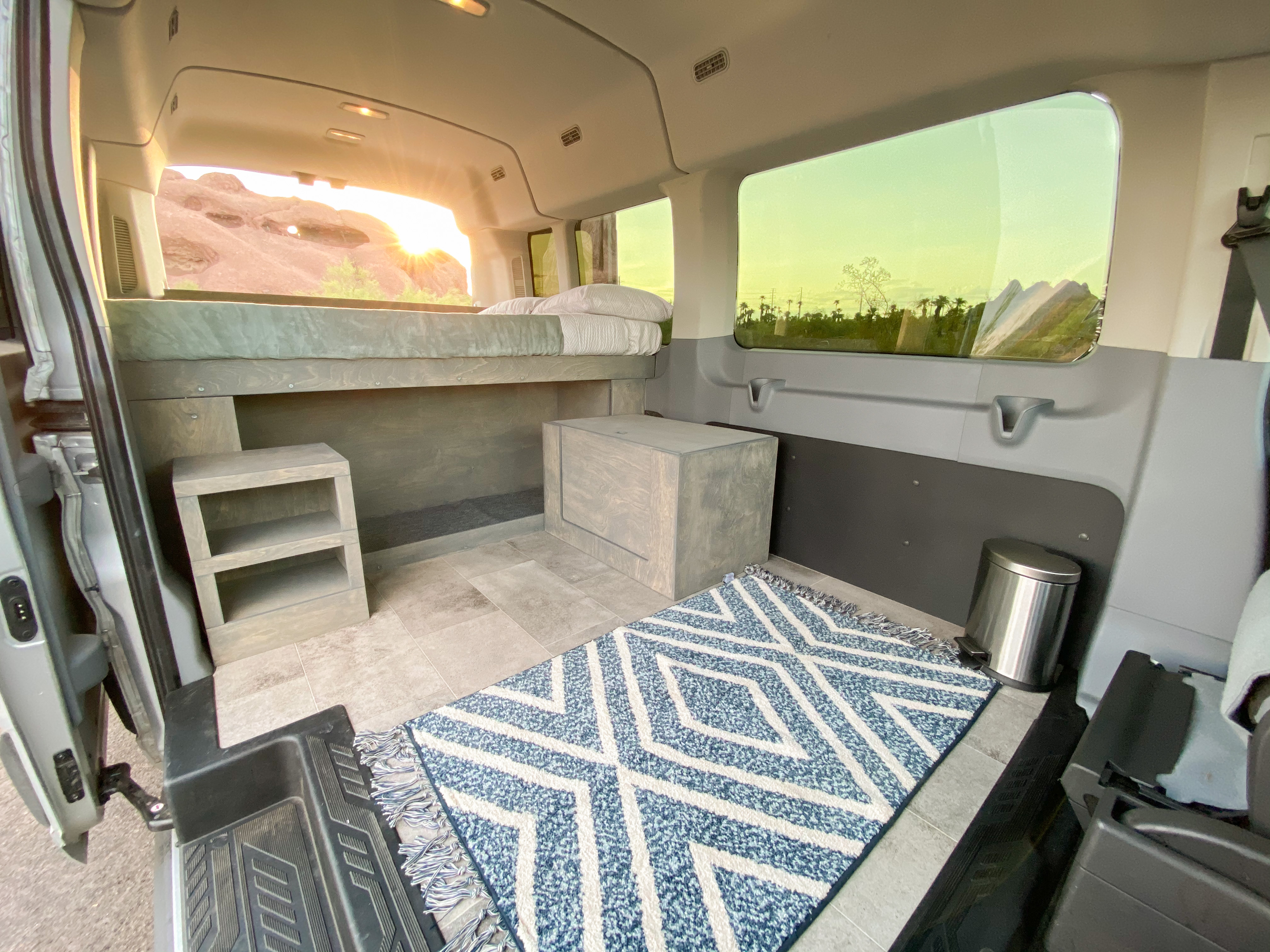 Lots of interior space! Optional 3 person bench seat can be installed behind the two front seats to accommodate up to 5 people. . Ford Transit Camper Van 2017