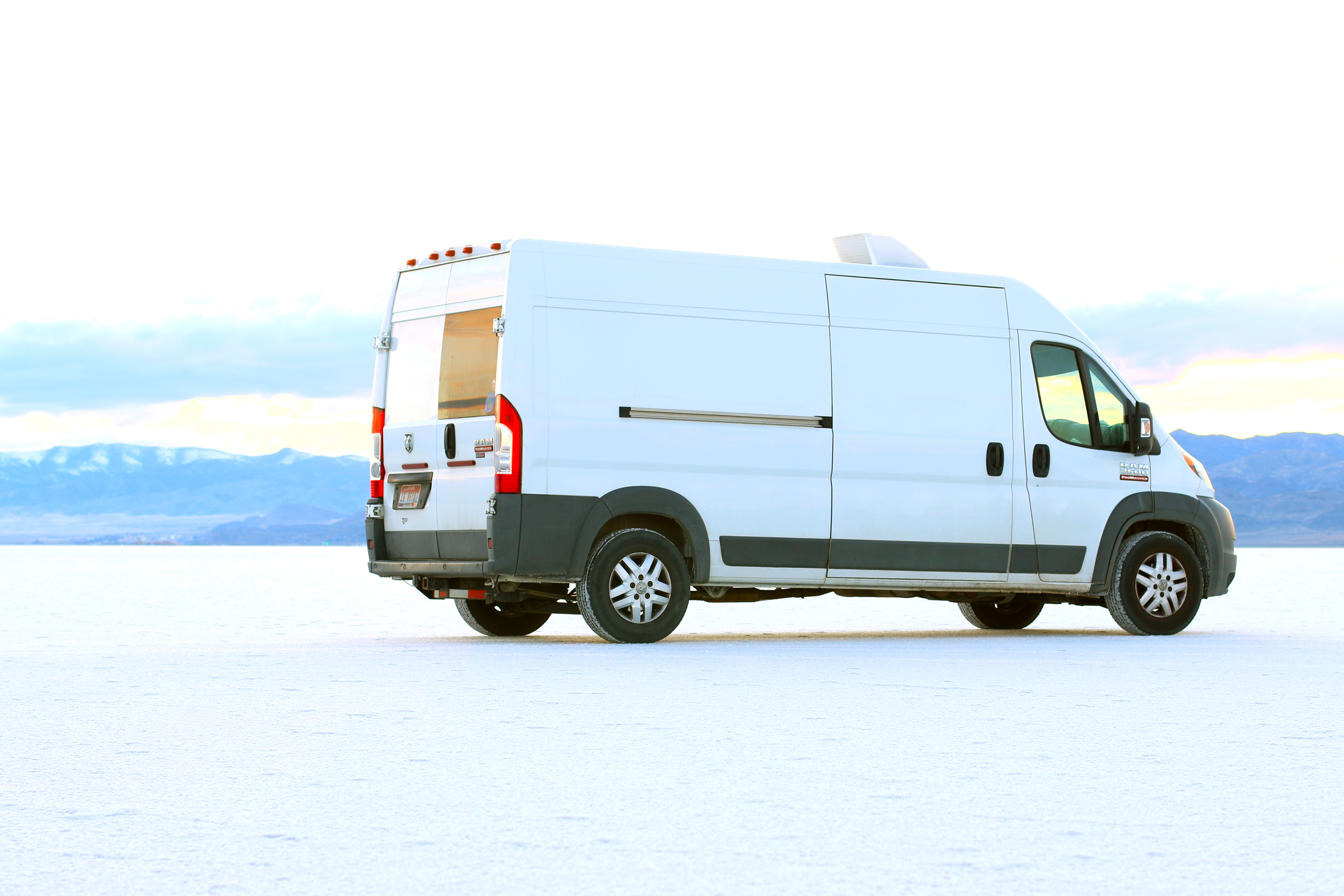 Still looking cute at the Salt Flats.. Ram Promaster 2014