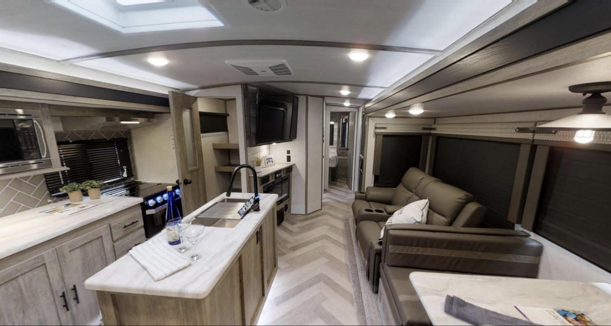 Modern kitchen and living space. Forest River Salem Hemisphere 2020