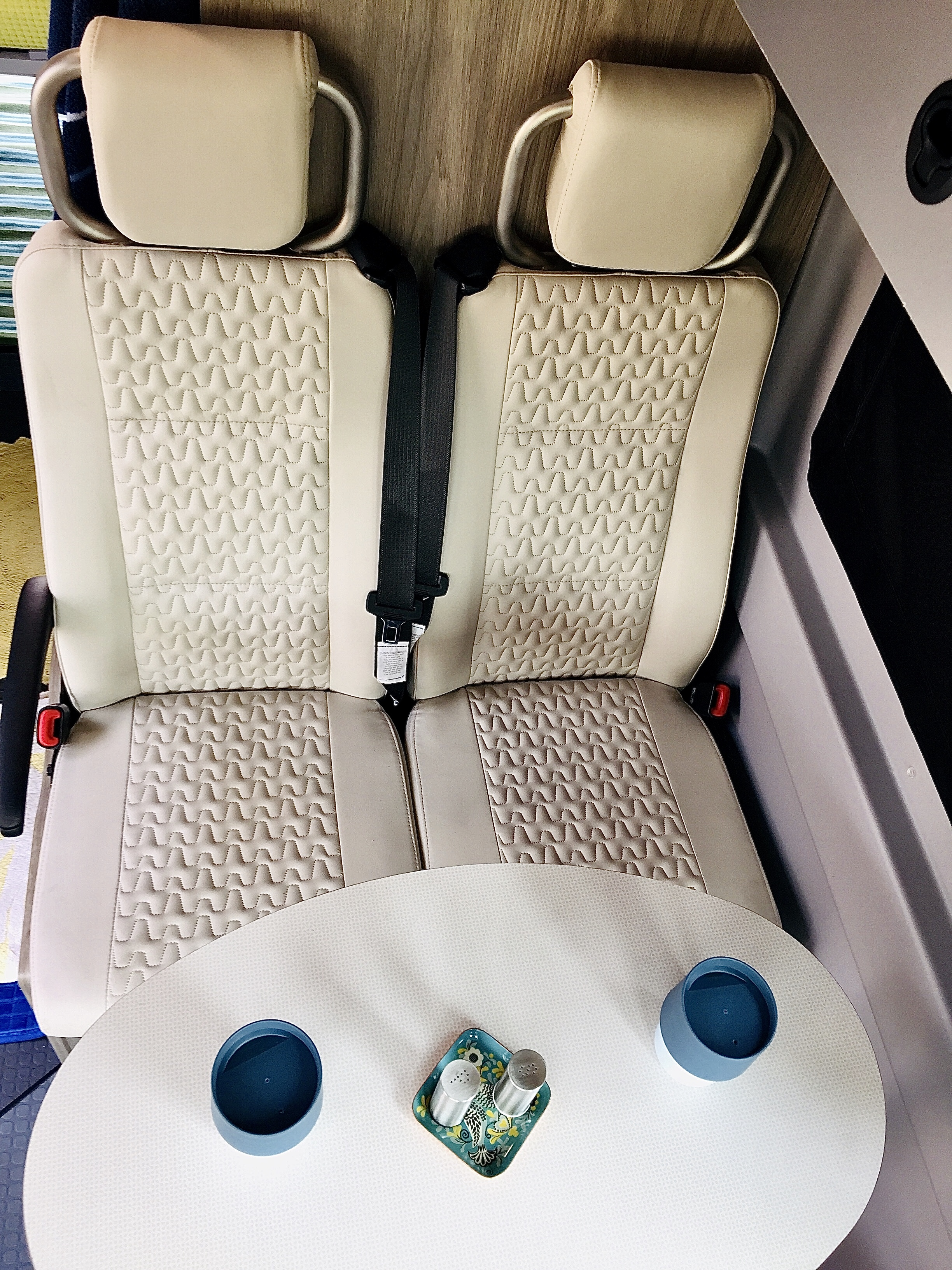 Seats 4 with seatbelts (carseat capable). Winnebago Solis 2021