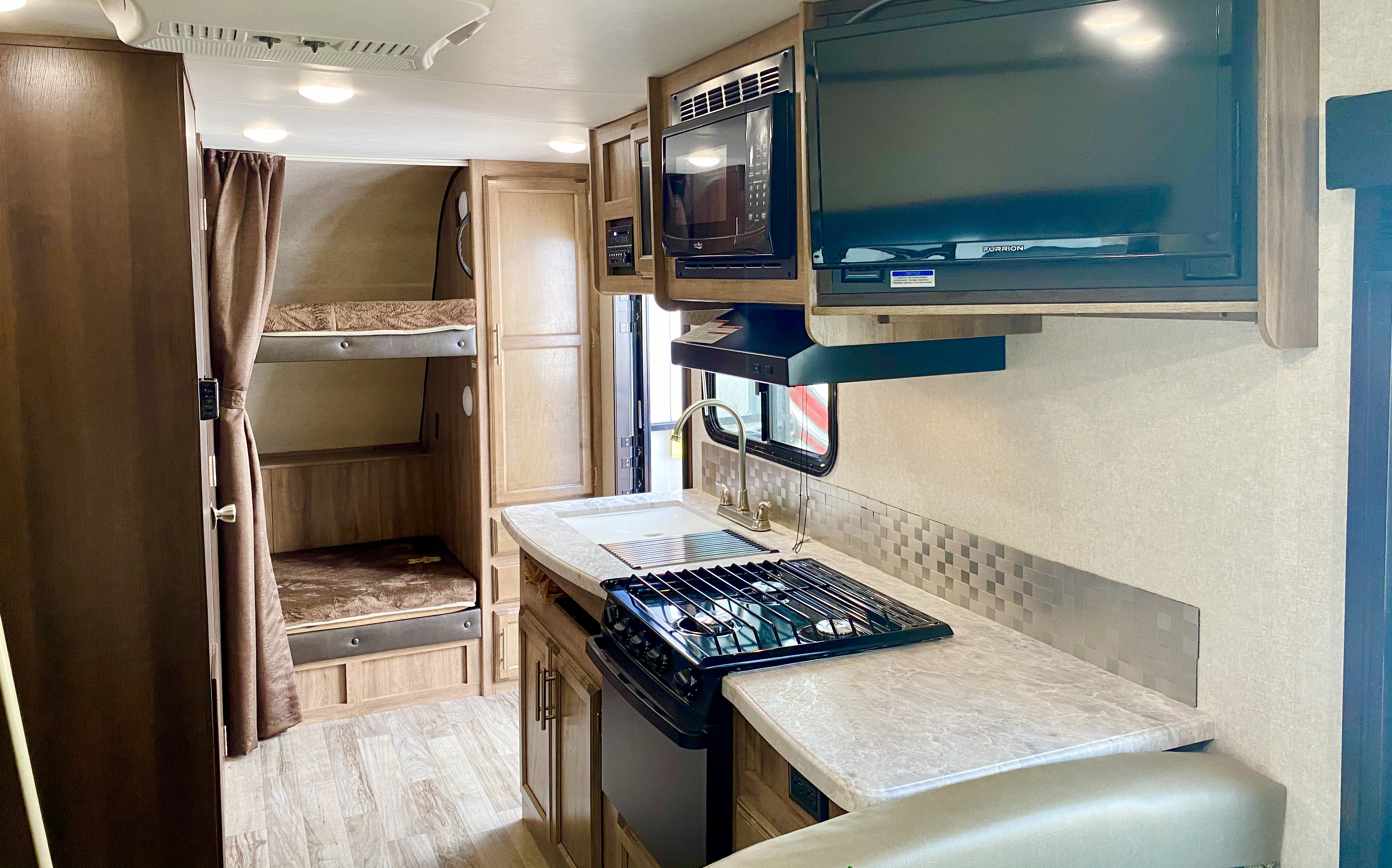 Bunks and kitchen. Jayco Jay Feather 2019