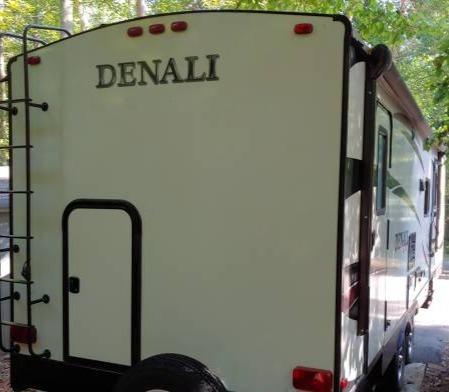 Rear access to bunkhouse for storage. Dutchmen Denali 2016
