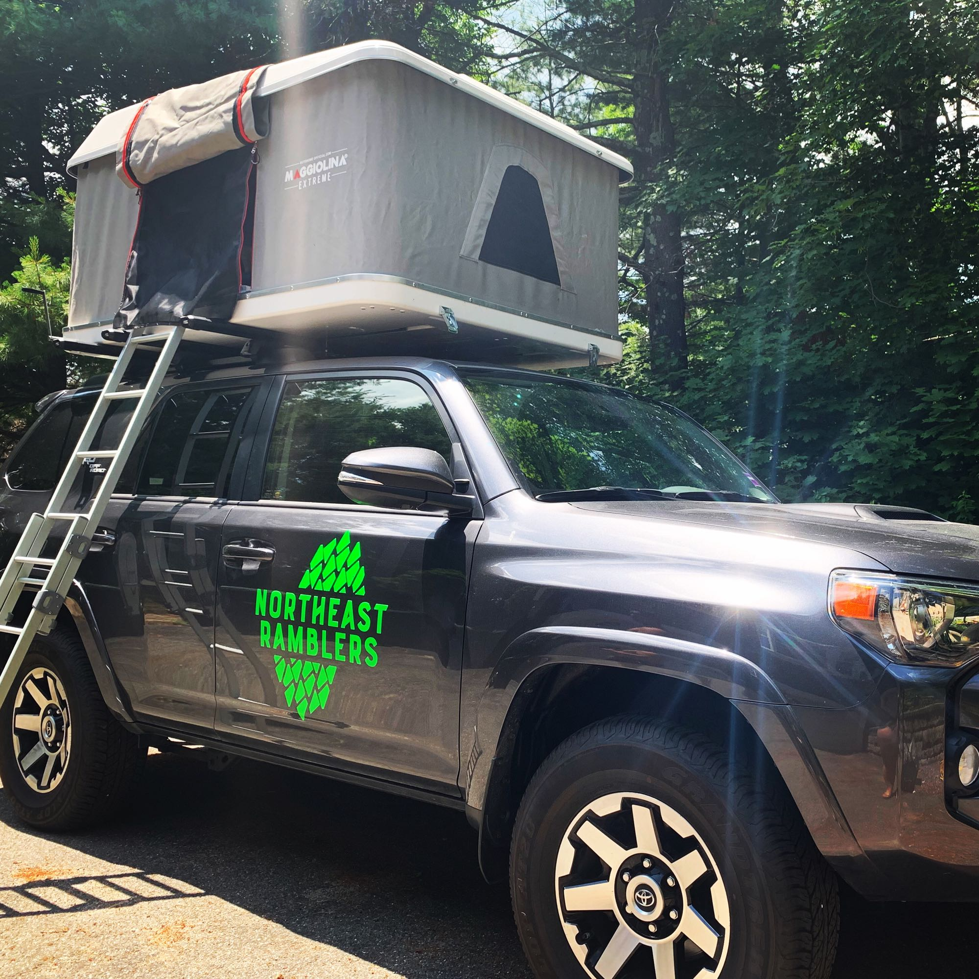 Ladder can be hooked to either side of the rooftop tent.. Toyota 4Runner 2020