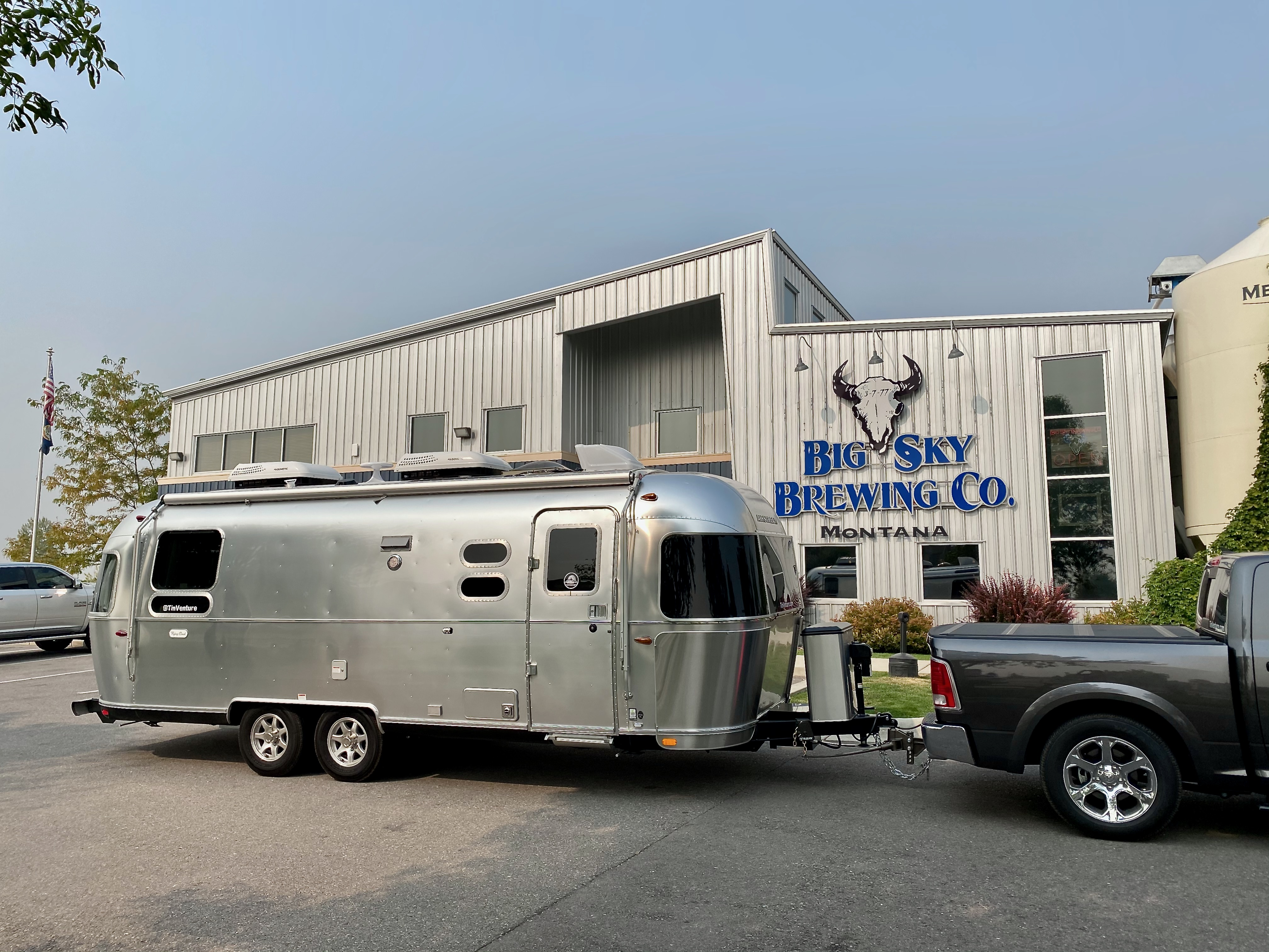 Big Sky Brewing Co in Missoula, Montana. Airstream Flying Cloud 2021