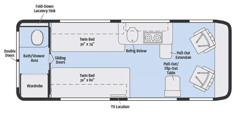 Bath, Beds, Galley...the perfect floor plan. Winnebago Travato 2017