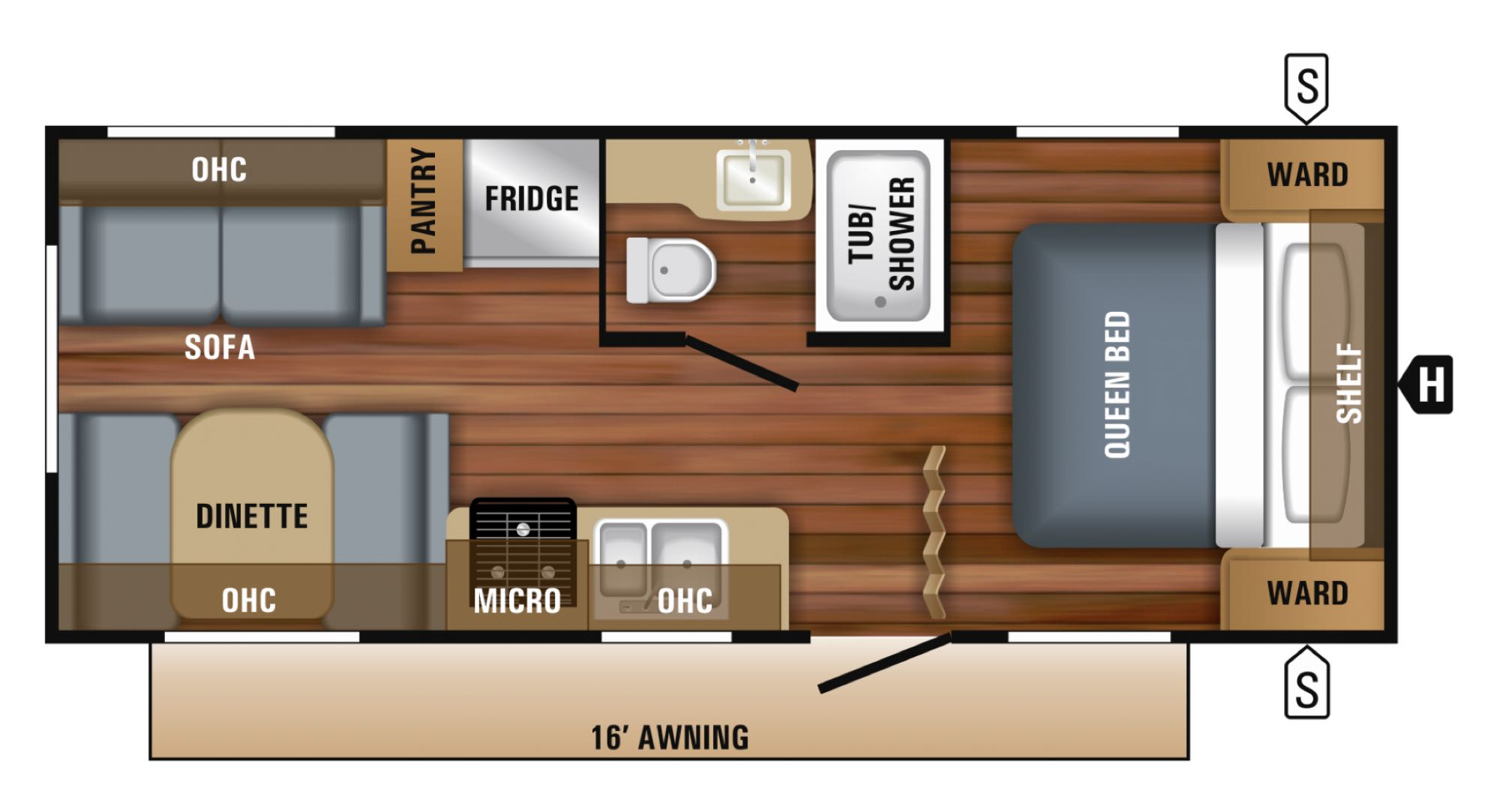 Awesome floorplan with couch, table, walk around bed, large fridge and freezer, oven and a large bathroom. Jayco Jay Flight 212 QB 2018
