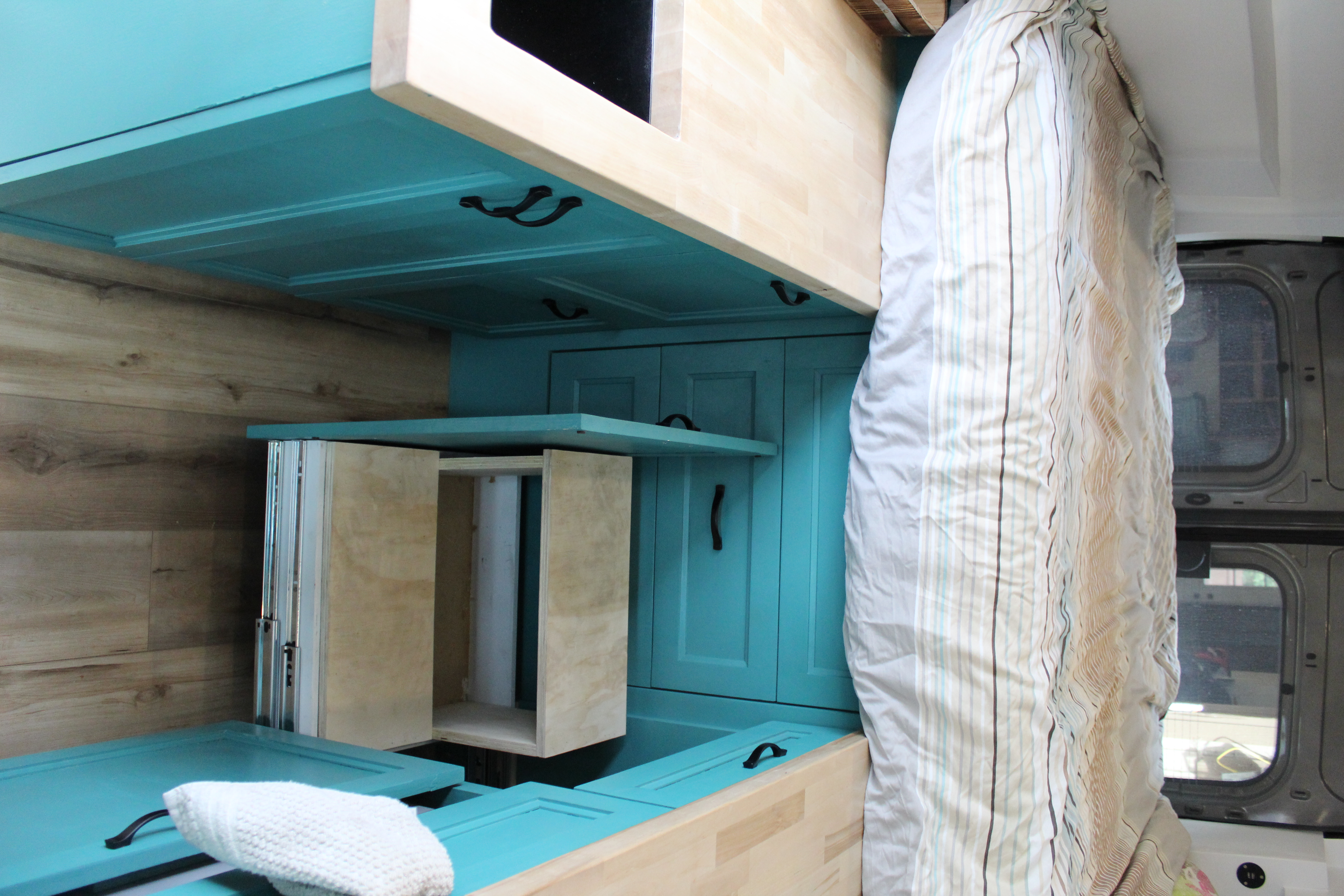 Stairs to get up and down from the bed. Ford Transit 2020