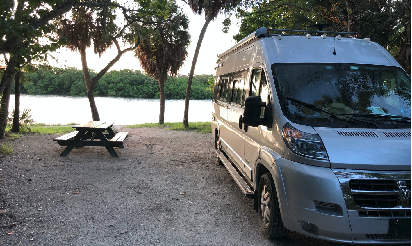 Silver Spur's favorite spot to camp for the night!. Winnebago Travato 2019